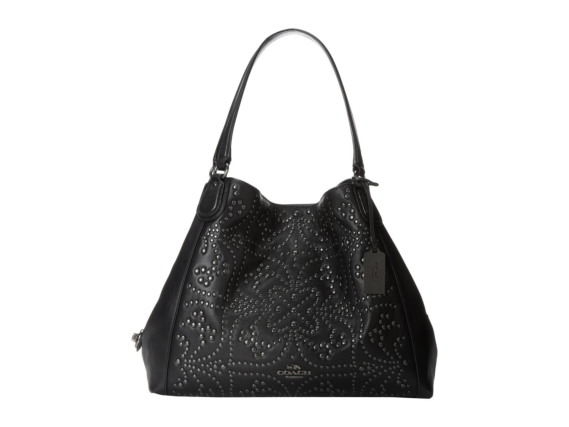 839ddaaec8e0 Lyst - COACH Mini Stud Edie Shoulder Bag in Black