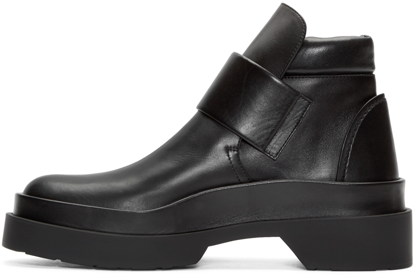 Lyst Jil Sander Black Leather Panelled Runway Boots In