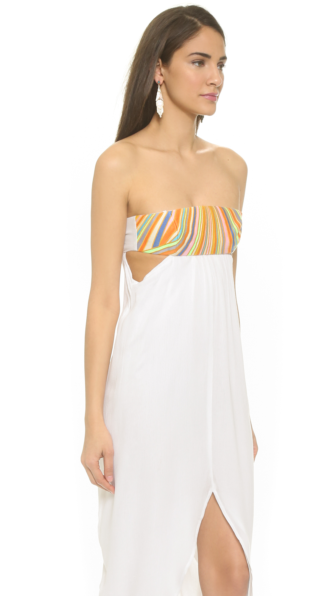 Mara hoffman beach embroidered maxi dress white in