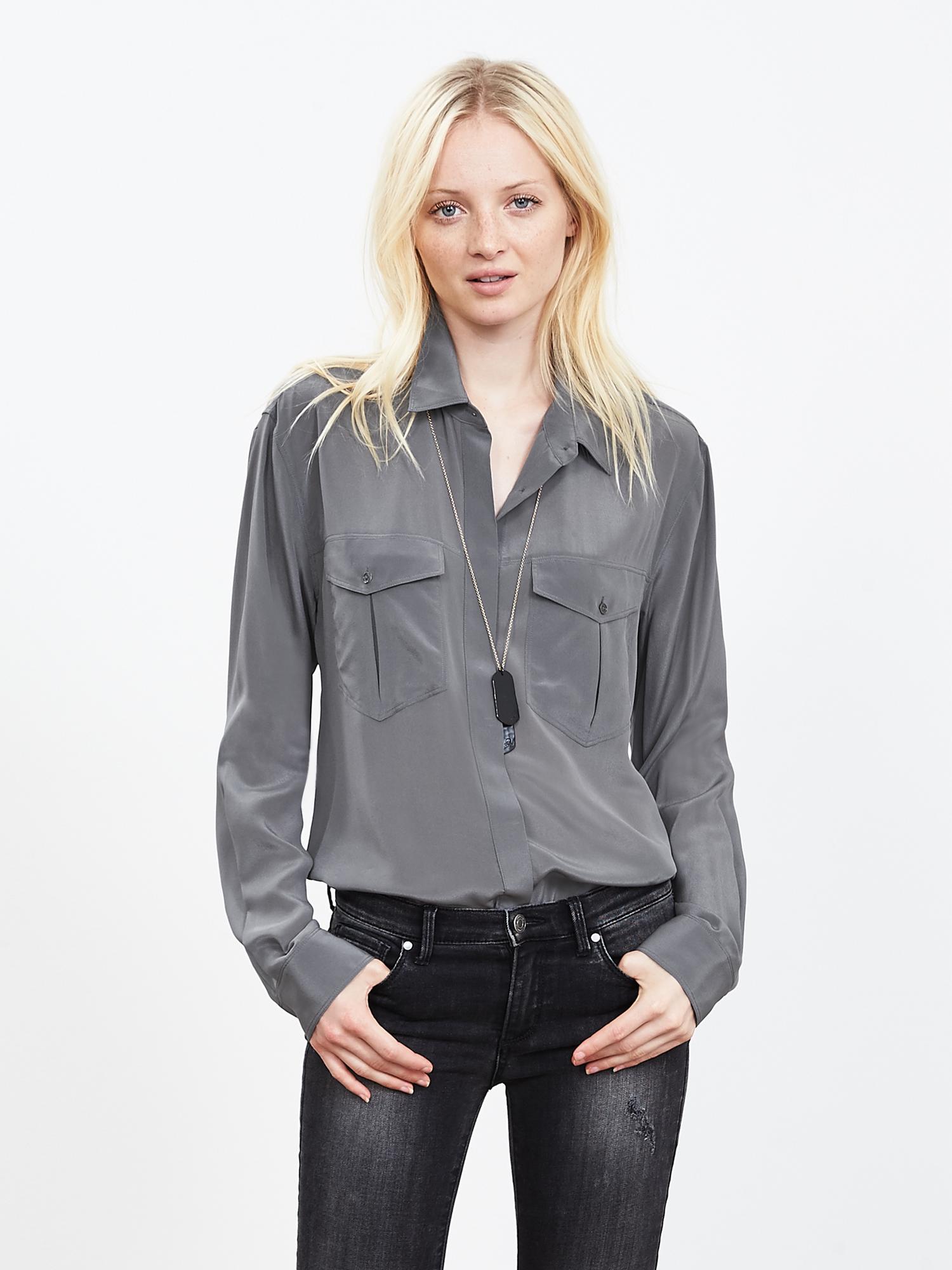 91a720435d11c Lyst - Banana Republic Silk Utility Shirt in Gray