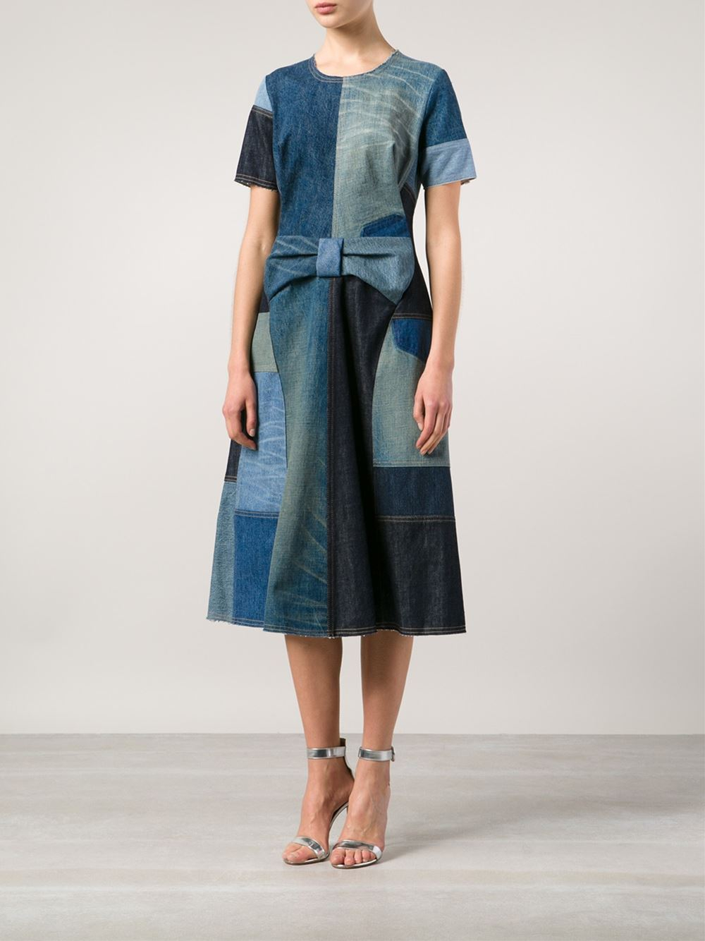Lyst Junya Watanabe Patchwork Denim Dress In Blue