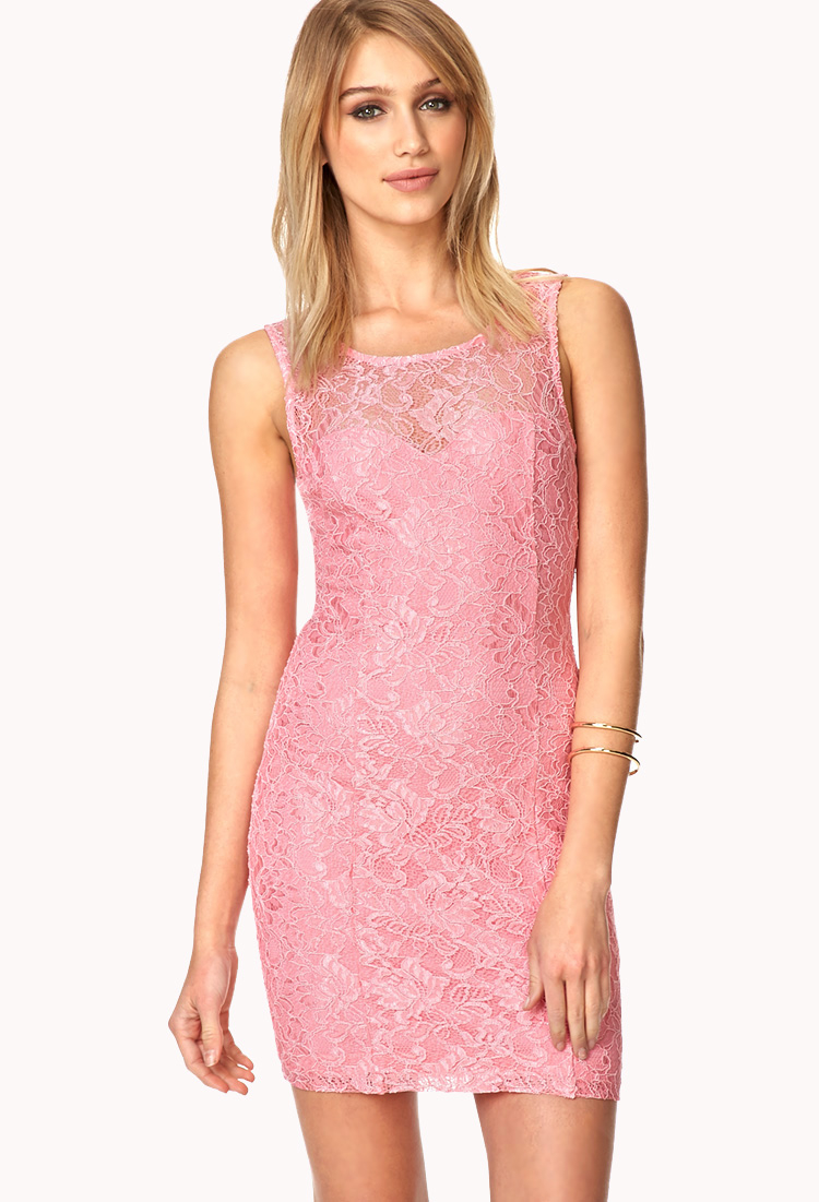 5c412a322 Forever 21 Enchanted Lace Bodycon Dress in Pink - Lyst
