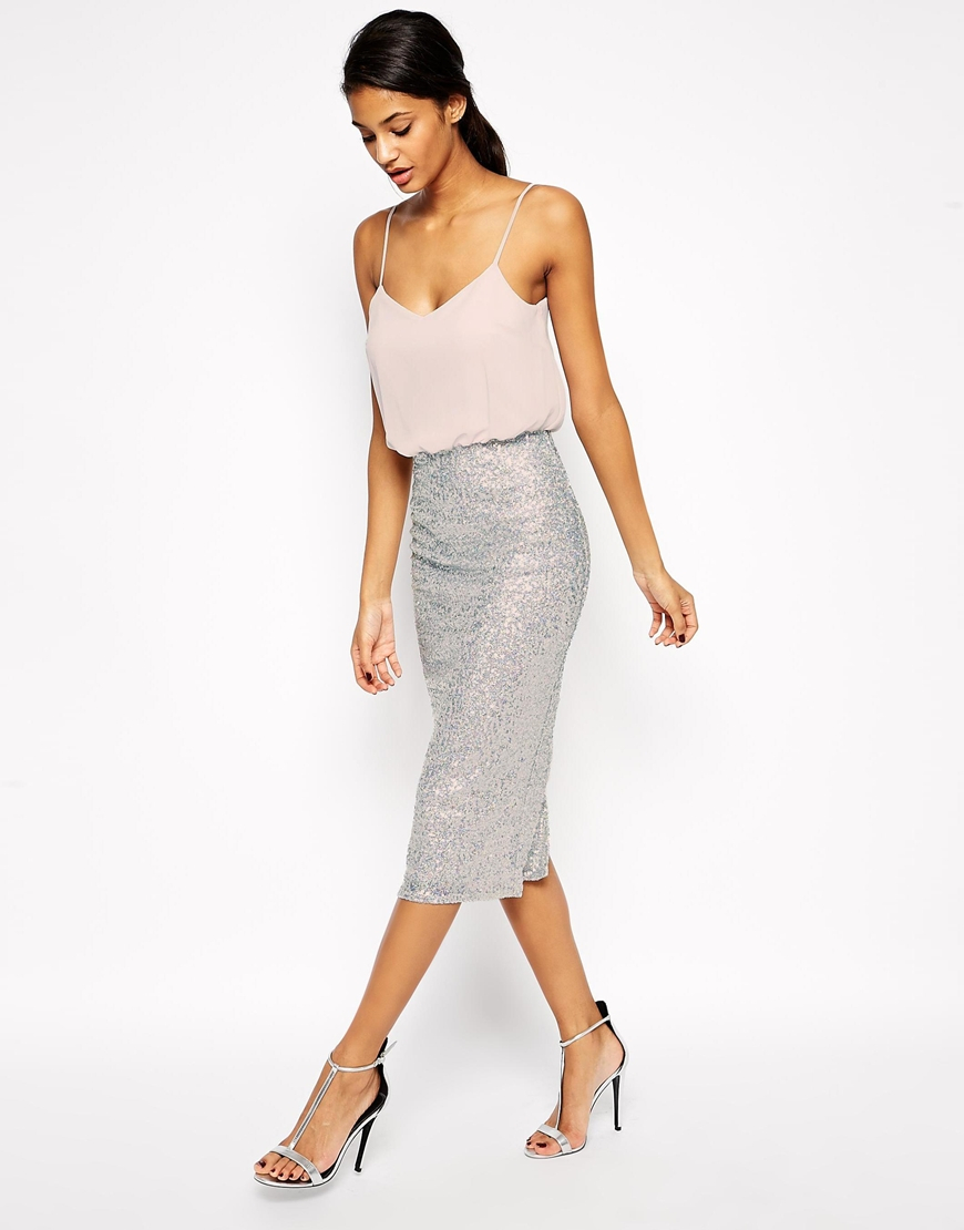 Asos Sequin Skirt Midi Cami Dress in Metallic | Lyst