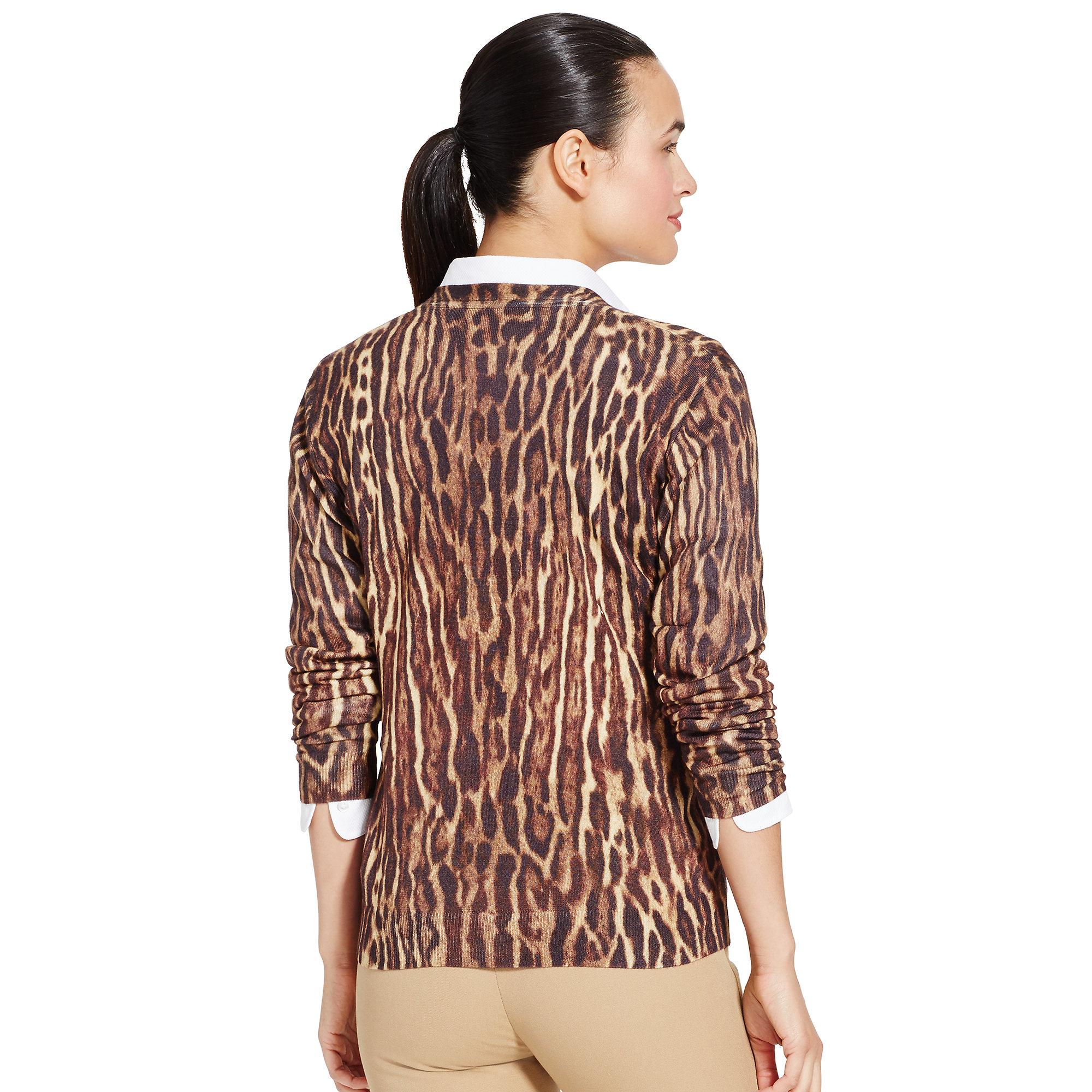 Ralph lauren golf Leopard-print V-neck Cardigan | Lyst