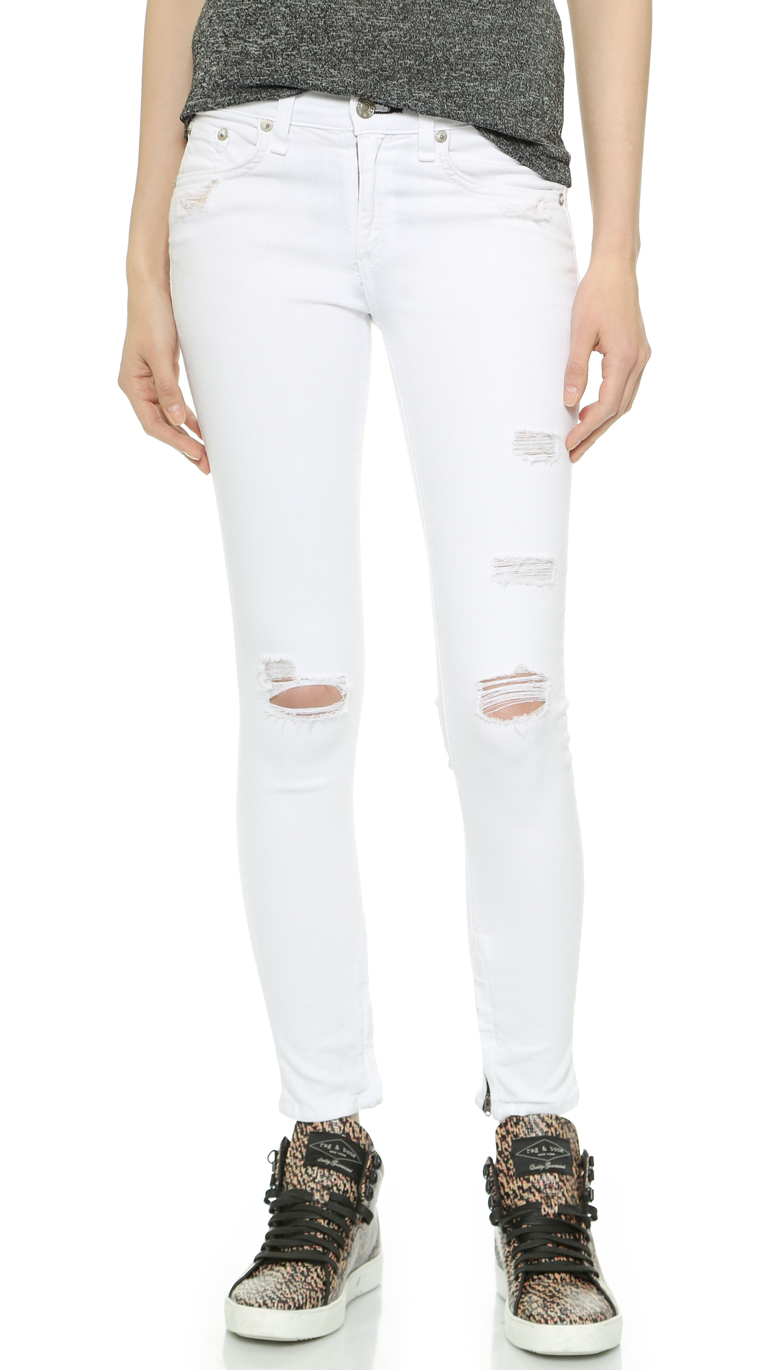 Rag & bone The Shredded Zipper Capri Jeans - Bright White Shredded ...