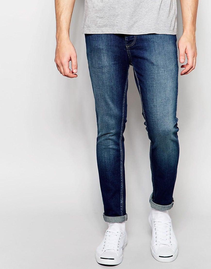 selected elected homme jeans in skinny fit in blue for men dkblue save 40 lyst. Black Bedroom Furniture Sets. Home Design Ideas