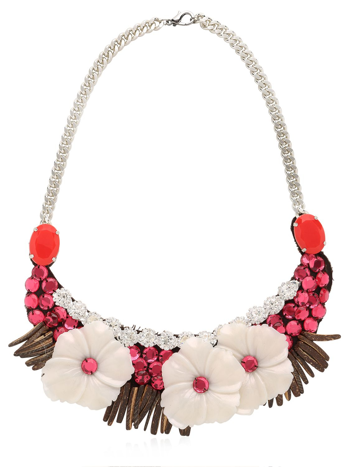 Ortys Flower Necklace With Swarovski in Red