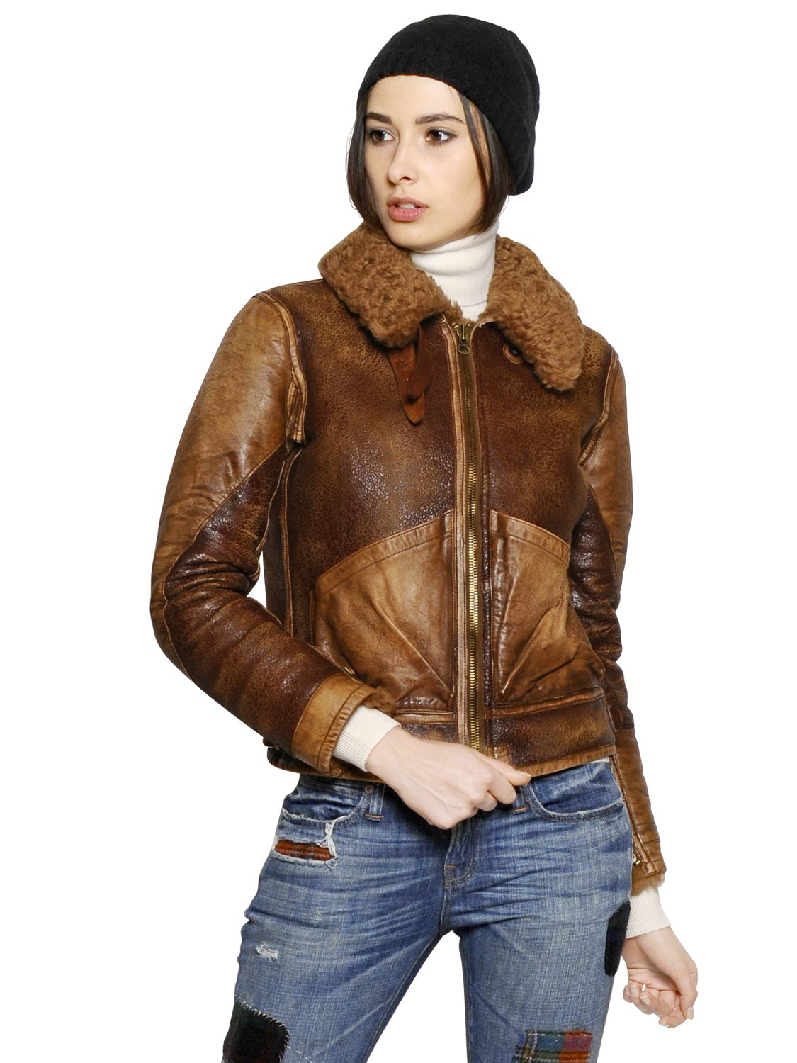 Lyst - Polo Ralph Lauren Shearling Leather Jacket In Brown