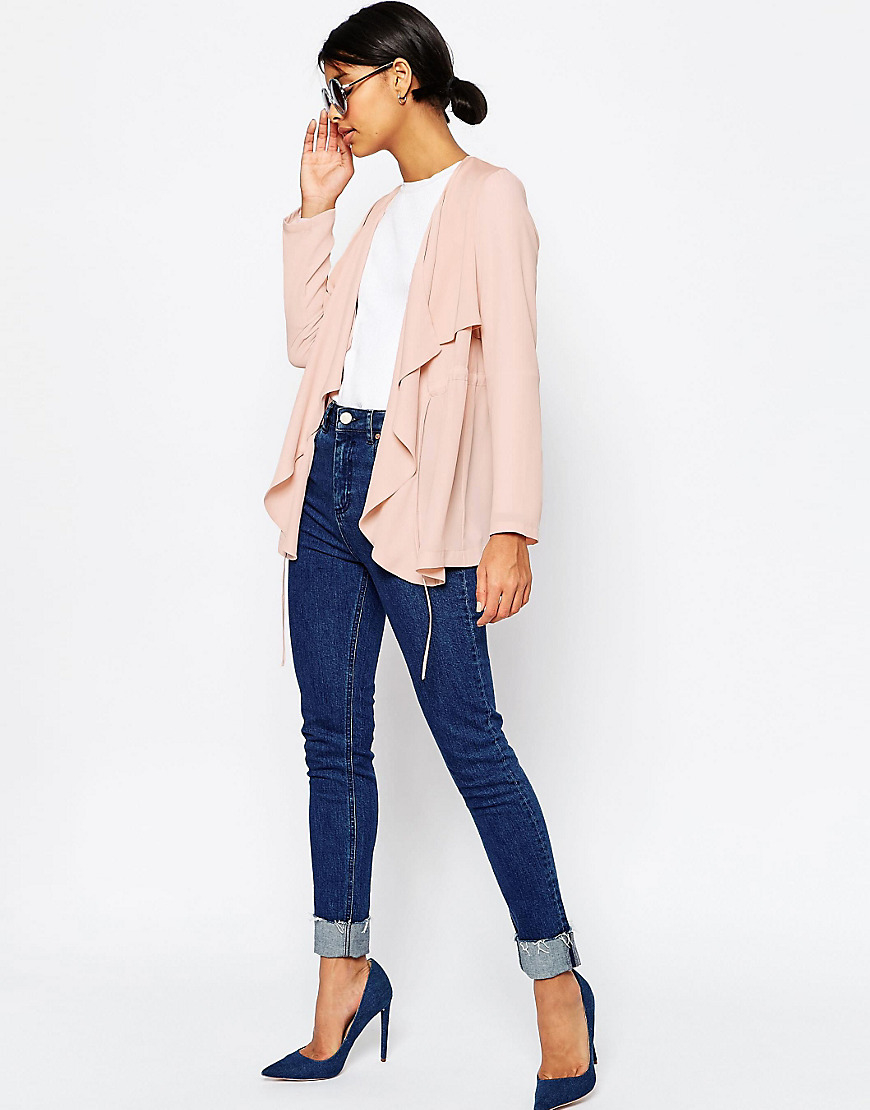 Asos Relaxed Waterfall Jacket in Pink | Lyst