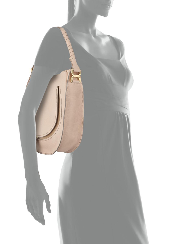 Chlo¨¦ Marcie Leather Hobo Bag in Beige (nude) | Lyst