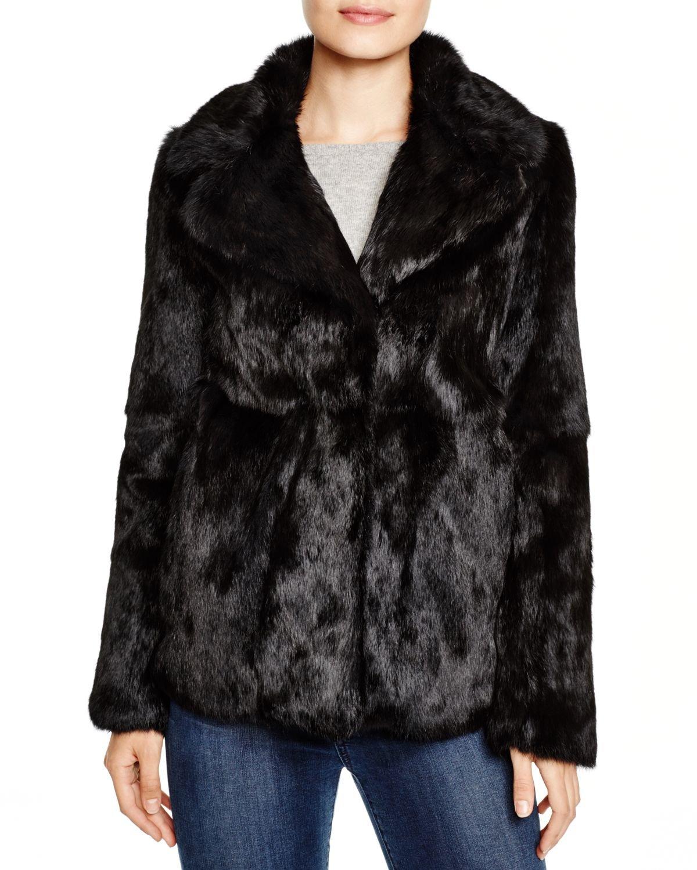 lyst - diane von furstenberg jessica rex rabbit fur jacket in black