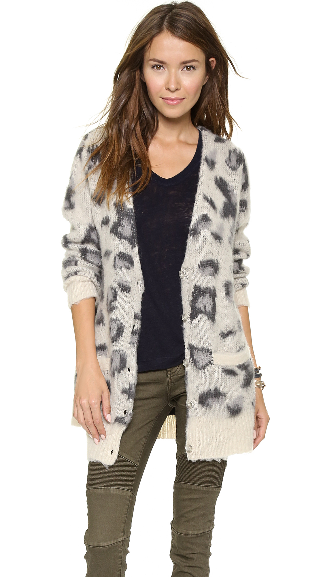 Free people Out Of Africa Cardigan Snow Leopard | Lyst