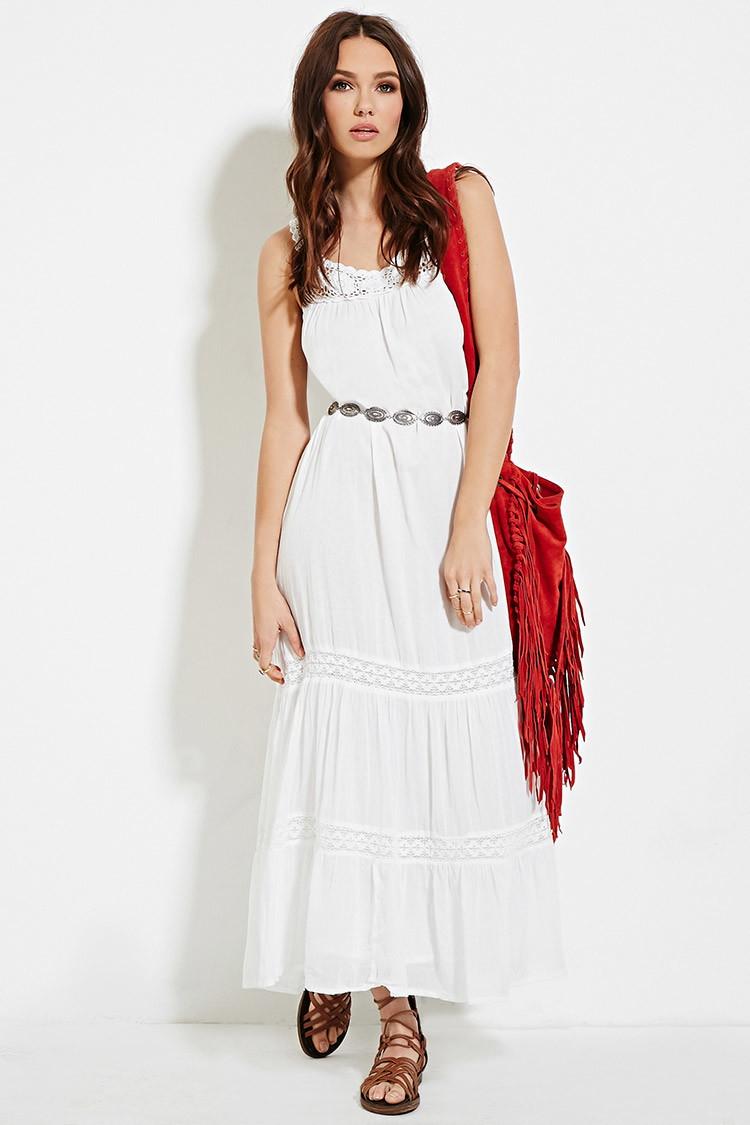 Forever 21 Raga Crochet-paneled Maxi Dress in White | Lyst - photo #37