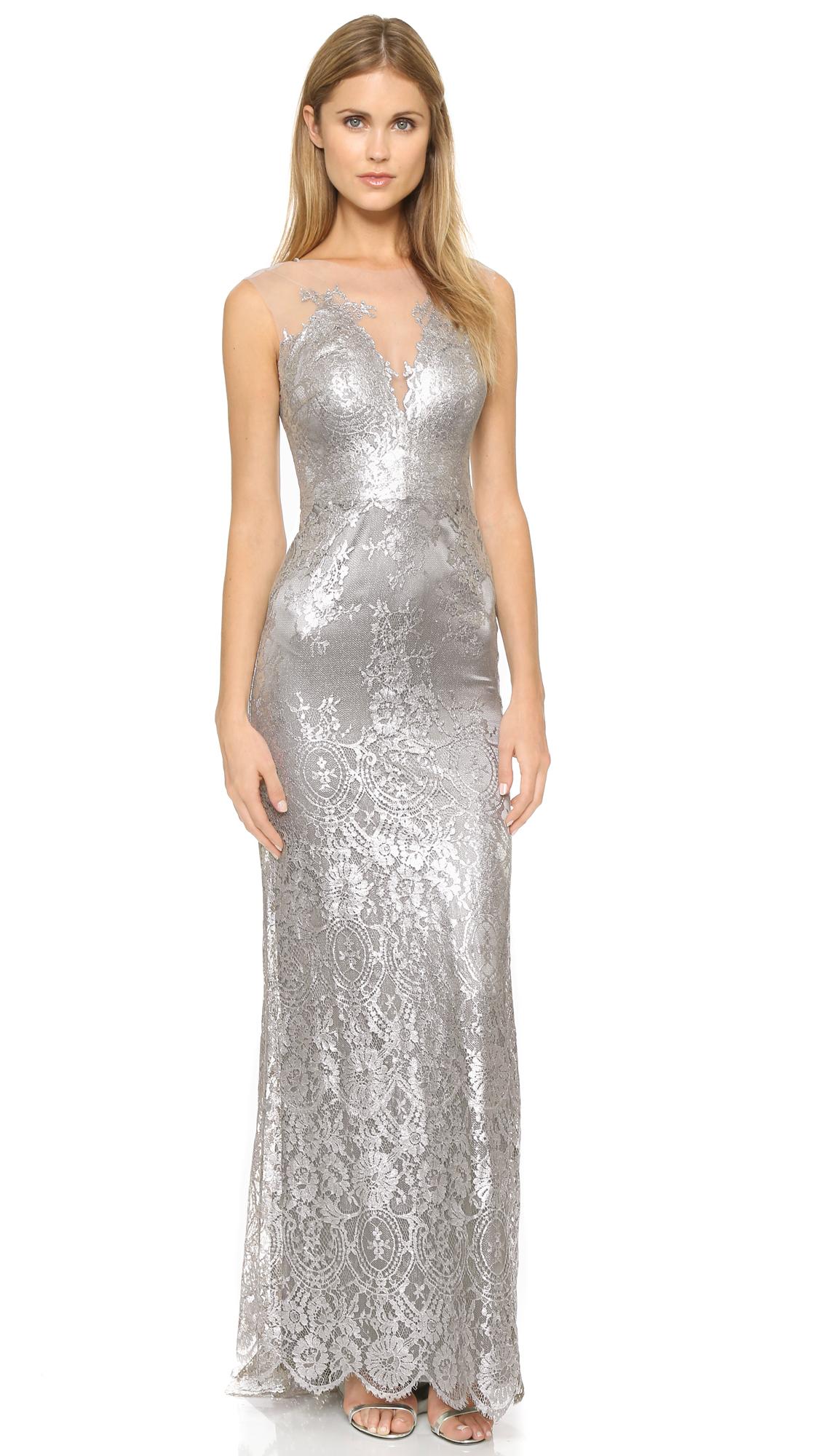 Lyst - Catherine Deane Chloe Metallic Lace Gown - Metallic Silver ...