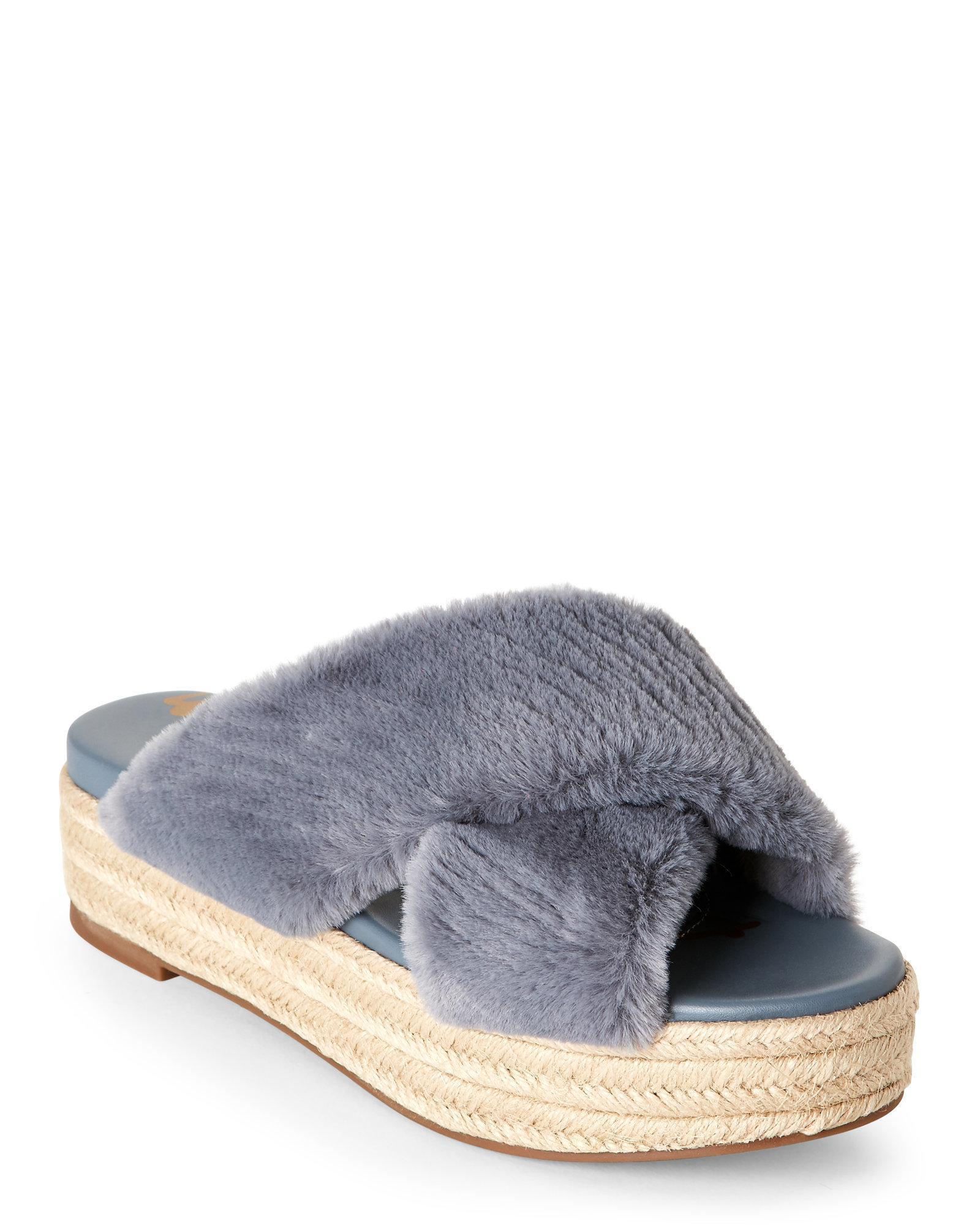 98185ab9372 Lyst - Sam Edelman Blue Grey Zia Faux Fur Platform Sandals in Gray