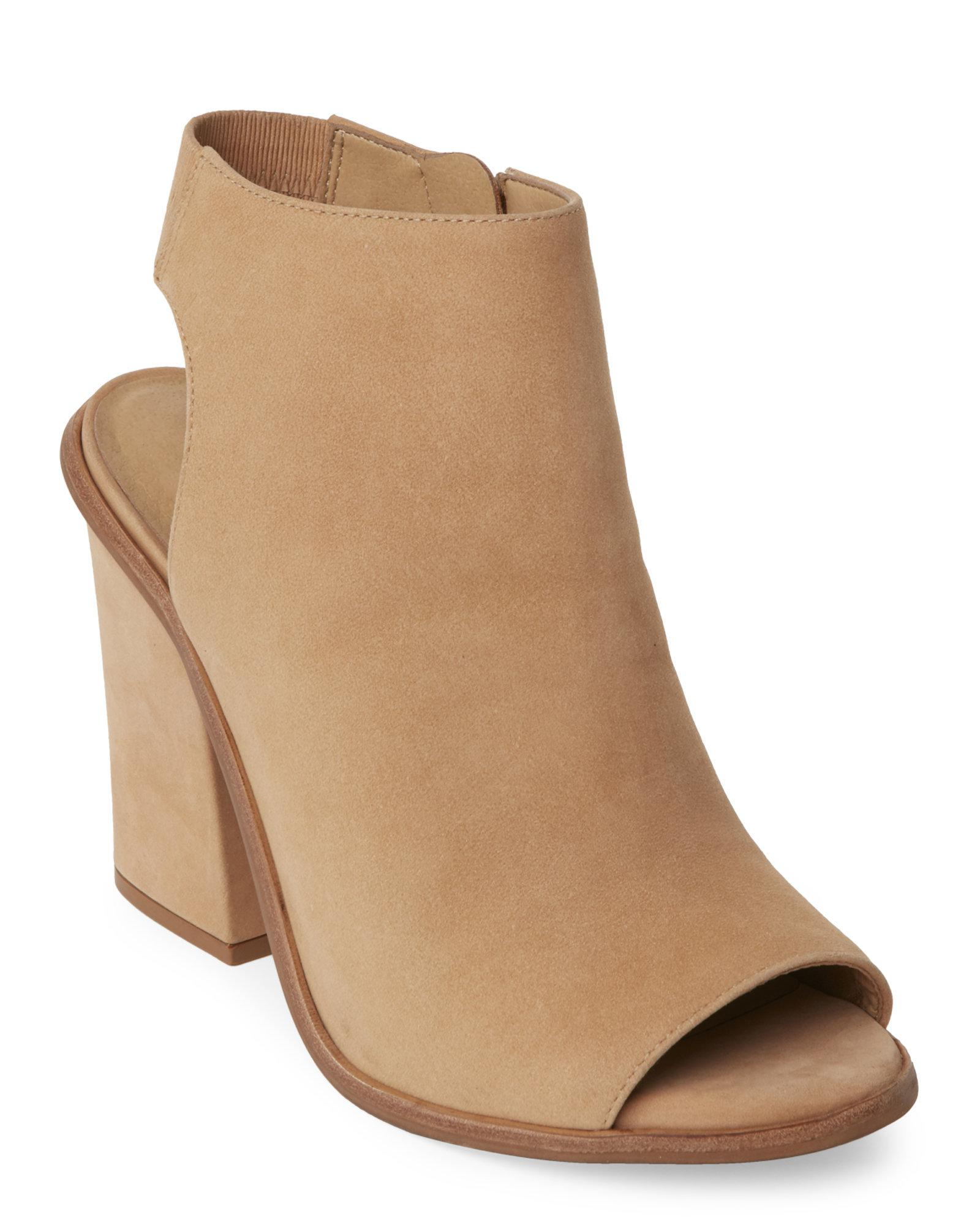 5957aad600c Lyst - Steve Madden Natural Valencia Peep Toe Cutout Booties in Natural