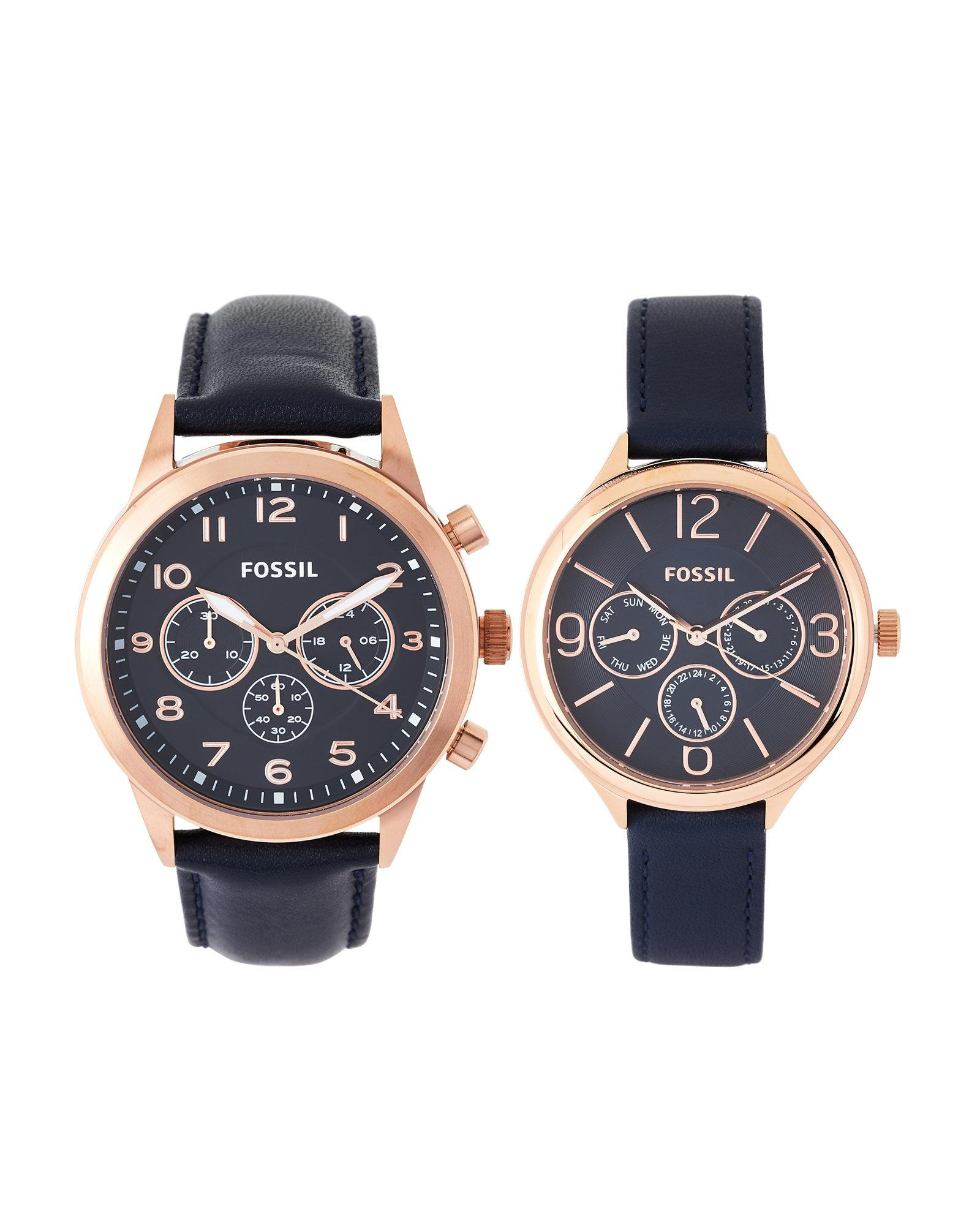 2db4d364e745 Lyst - Fossil Set Of Two Rose Gold-Tone   Navy His   Hers Watch Set ...