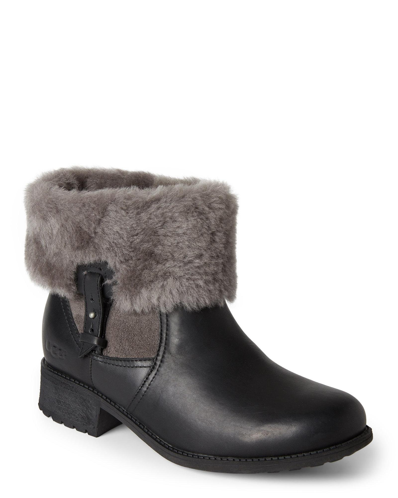 b5cef61f9af Lyst - UGG Black & Grey Chyler Water-Resistant Ankle Boots in Gray