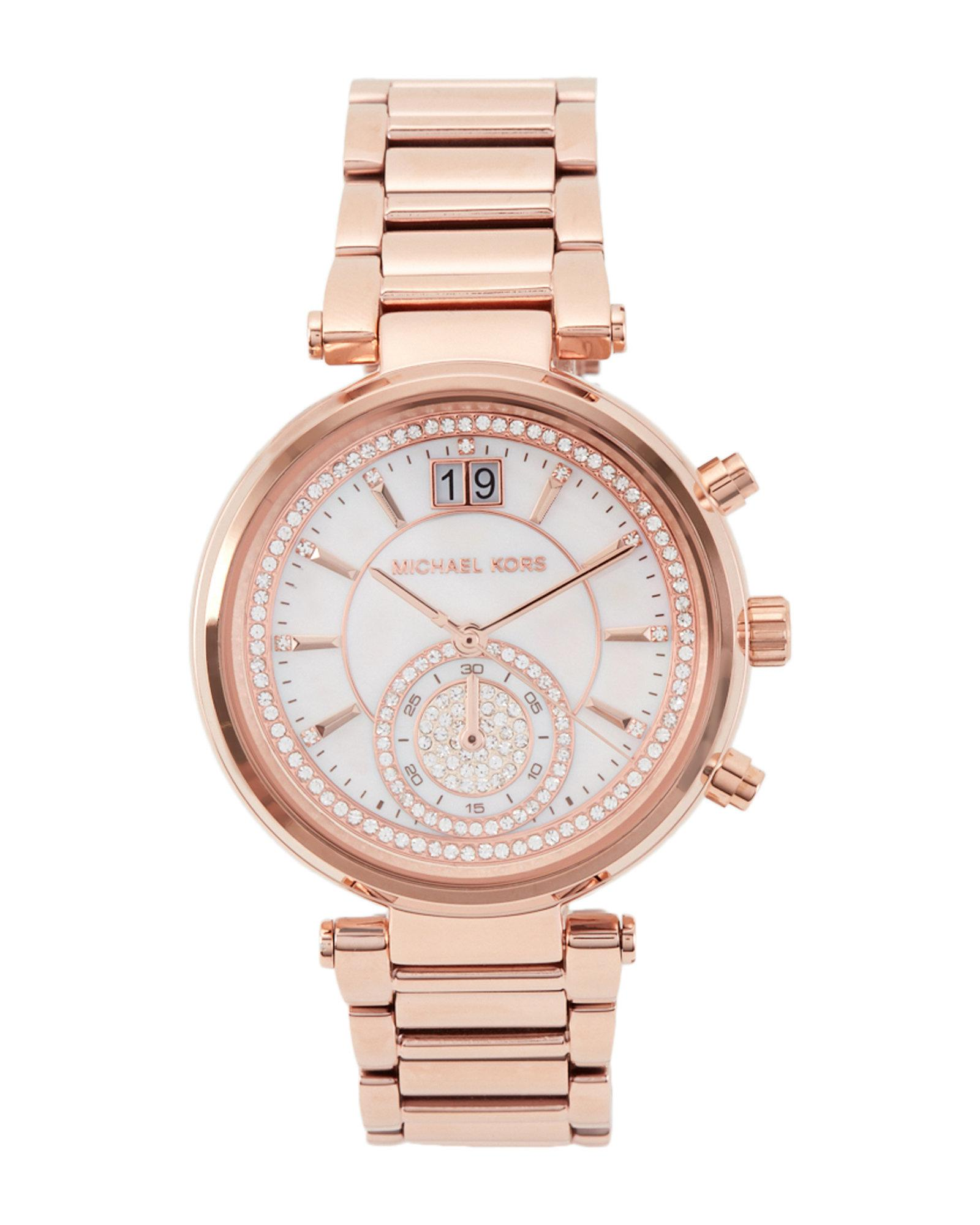 45aa9a78963e Lyst - Michael Kors Mk6282 Rose Gold-tone Sawyer Watch