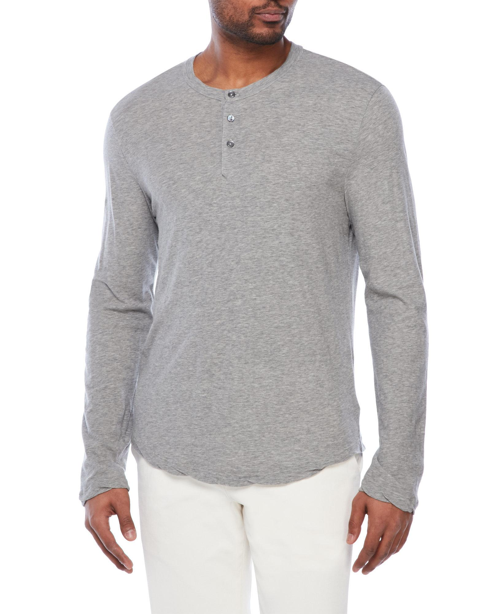 James Perse Jersey Knit Henley In Gray For Men Lyst