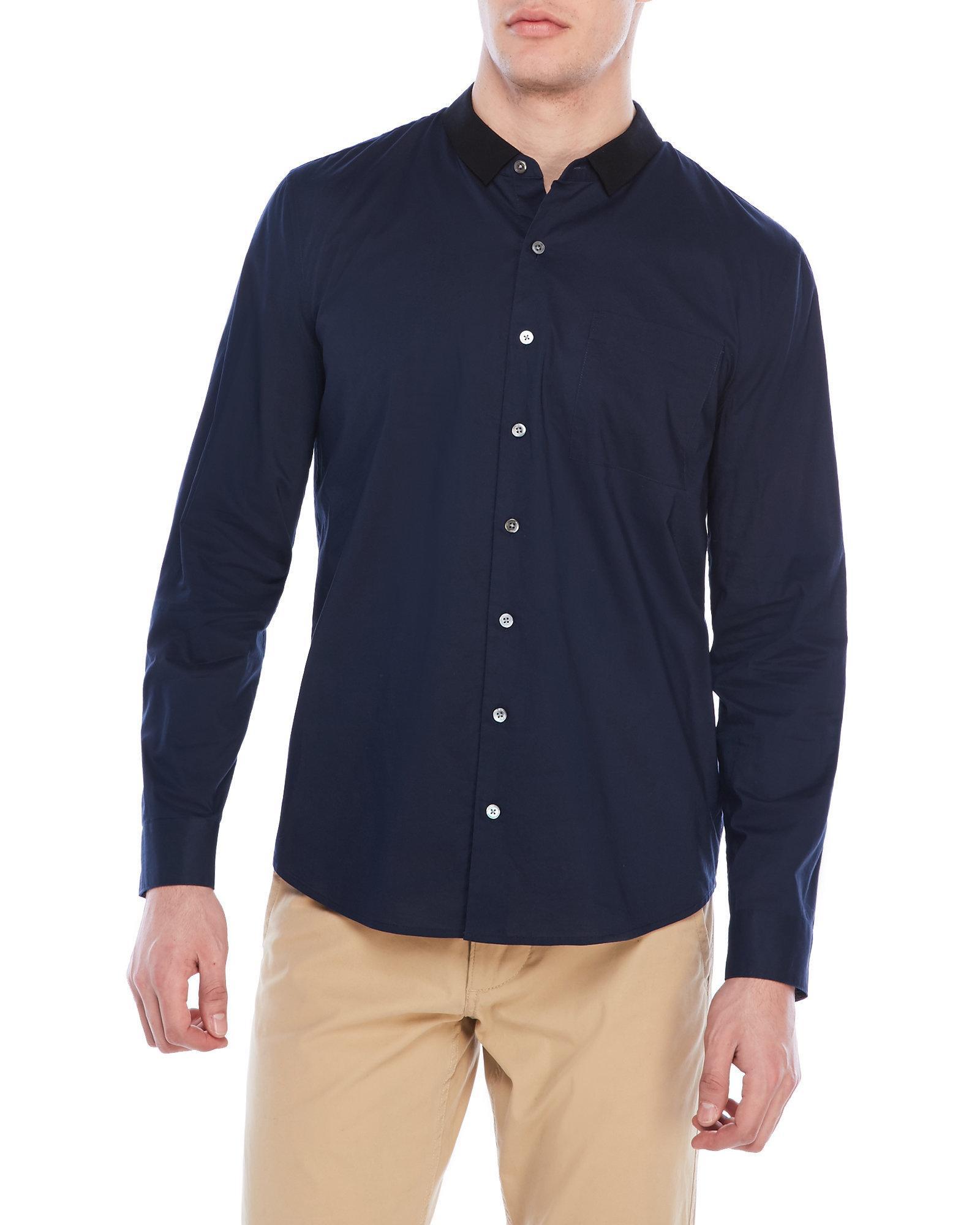 Lyst Atm Grosgrain Collar Dress Shirt In Blue For Men