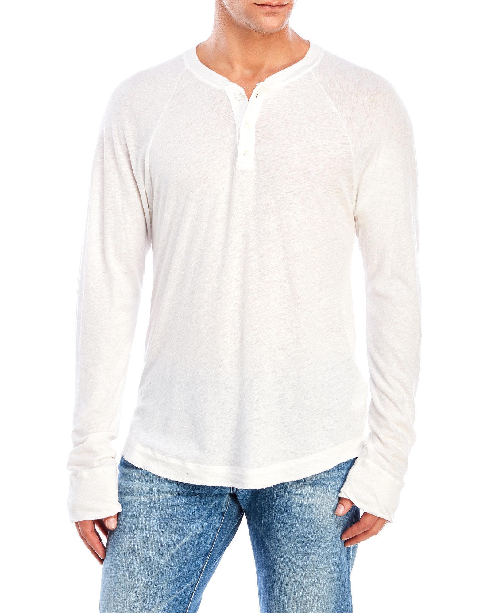 James Perse Linen Blend Raglan Henley In White For Men Lyst