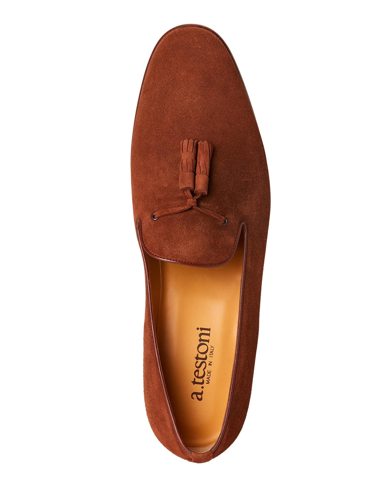 b1c853a93a9 Lyst - A.Testoni Caramel Suede Tasseled Smoking Loafers in Brown for Men