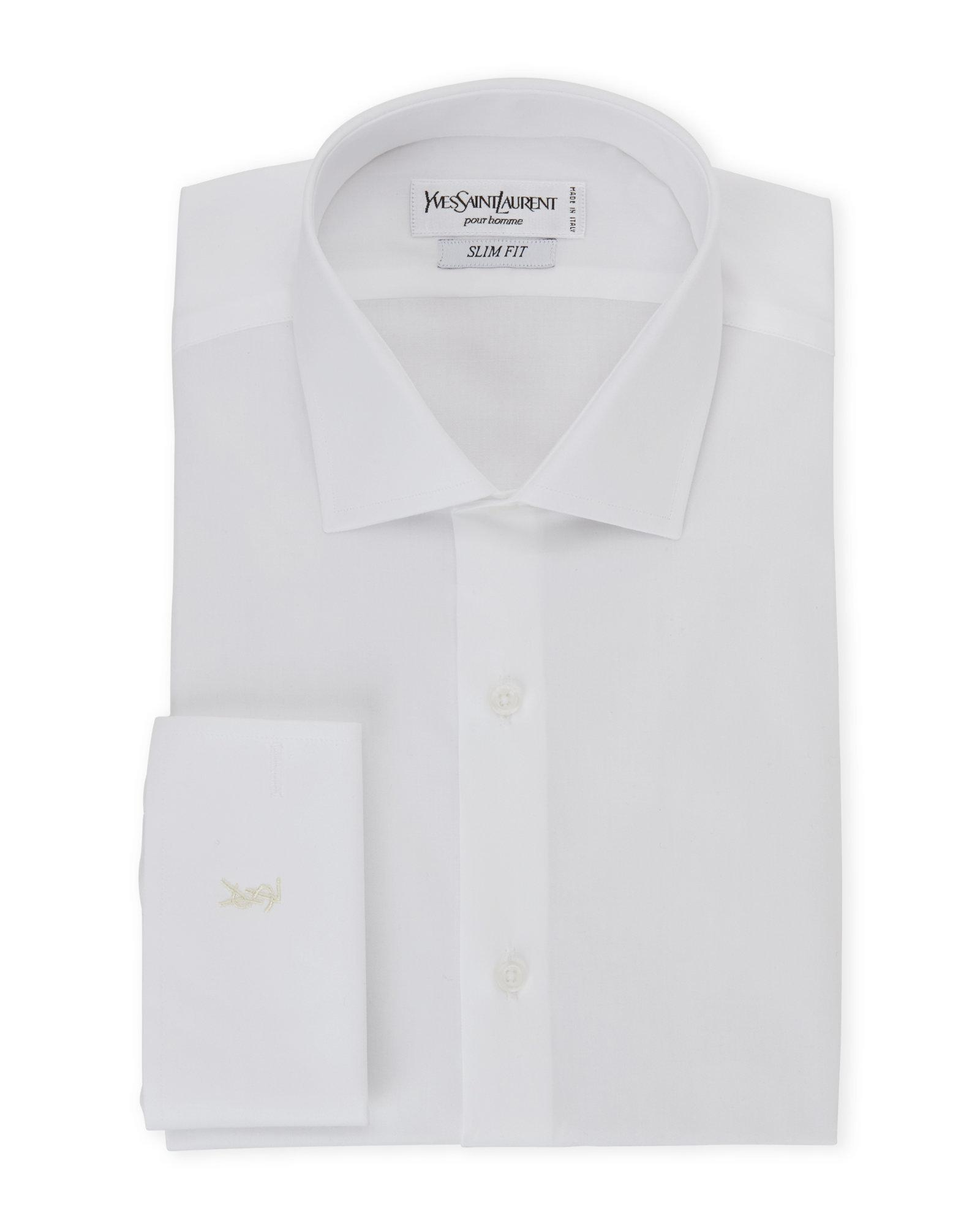 Saint laurent white slim fit french cuff dress shirt in White french cuff shirt slim fit