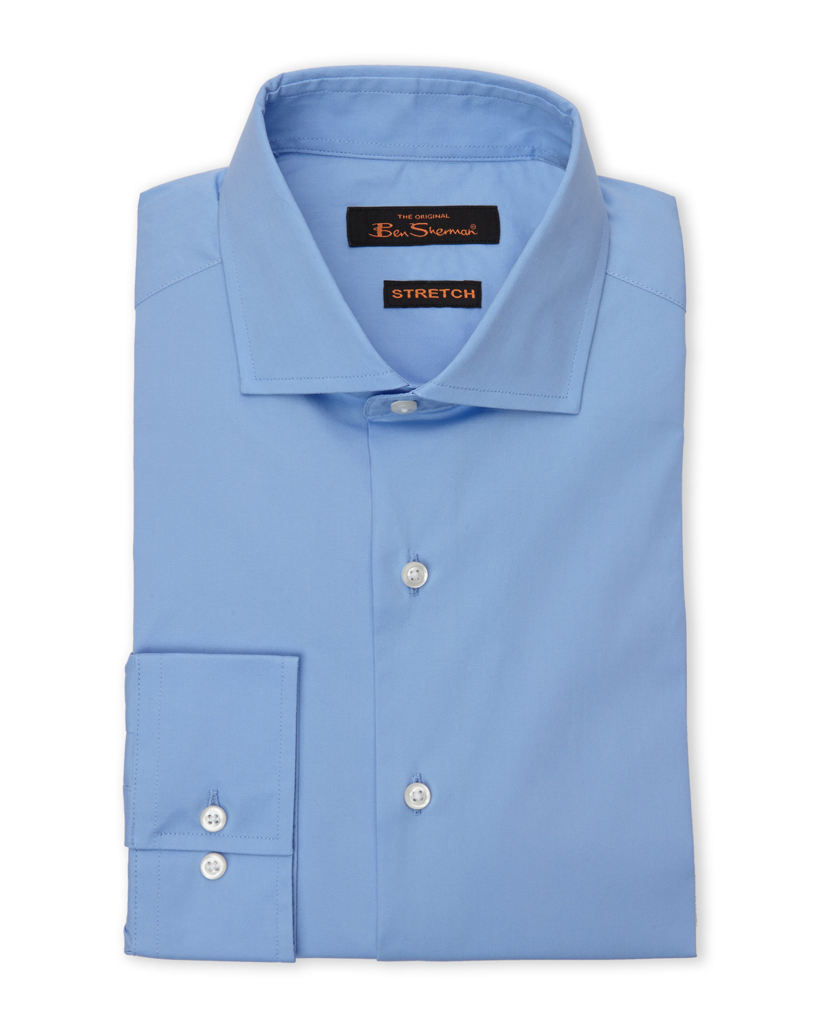 Ben sherman blue poplin stretch dress shirt in blue for for Century 21 dress shirts