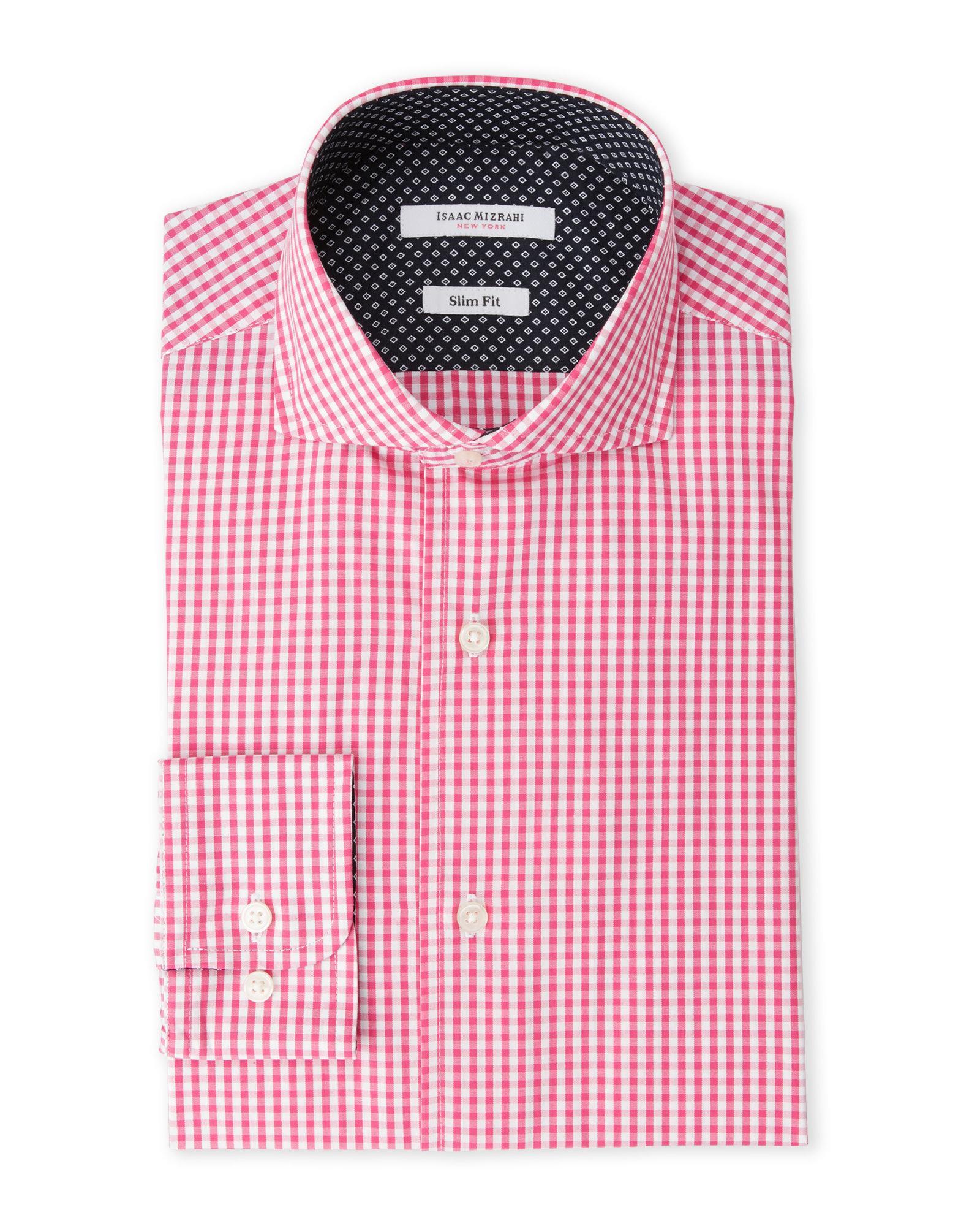 Isaac mizrahi new york cherry gingham slim fit dress shirt for Century 21 dress shirts