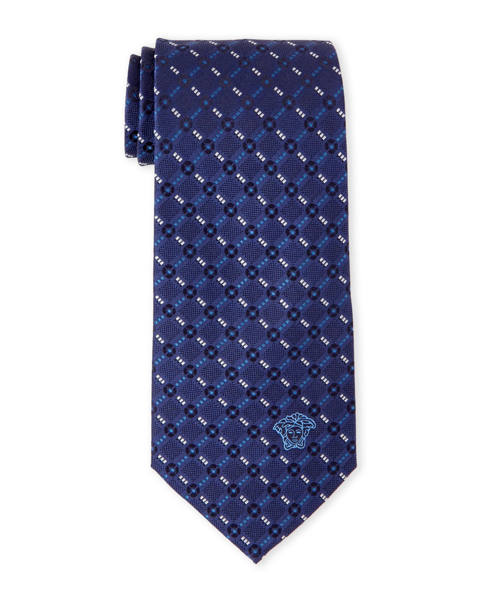 versace navy patterned silk tie in blue for men lyst