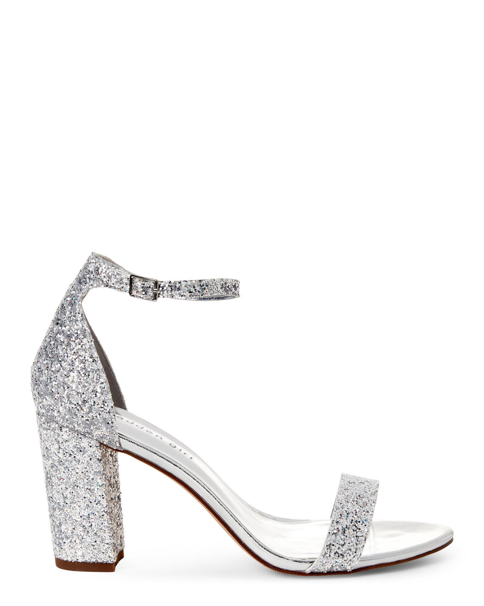 01b25e8c3785 Madden Girl Silver Bella Glitter Open Toe Heels in Metallic - Lyst