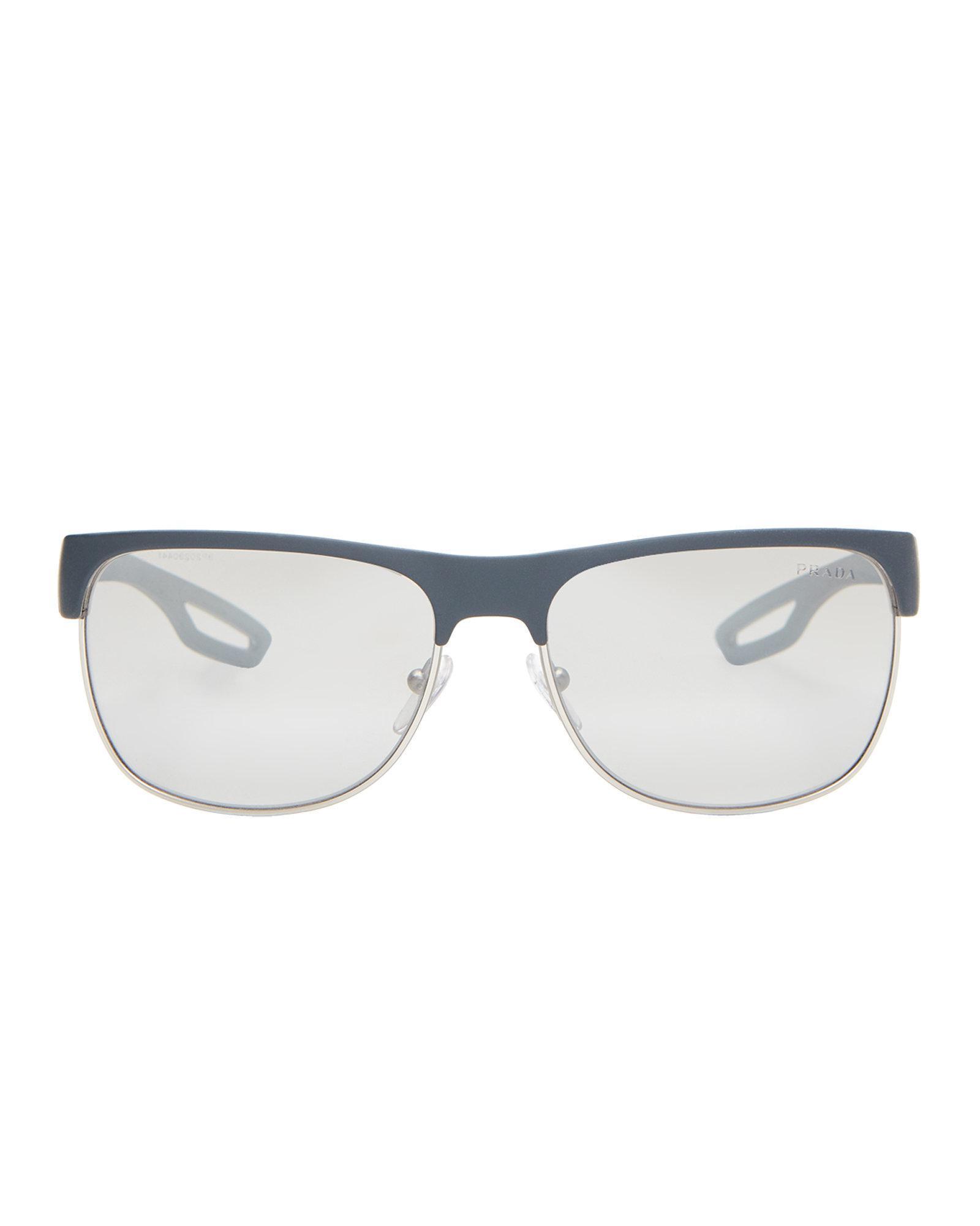 31d5f91a35f22 Prada Sport Sps 57q Grey   Silver-tone Rectangle Half-rim Sunglasses ...
