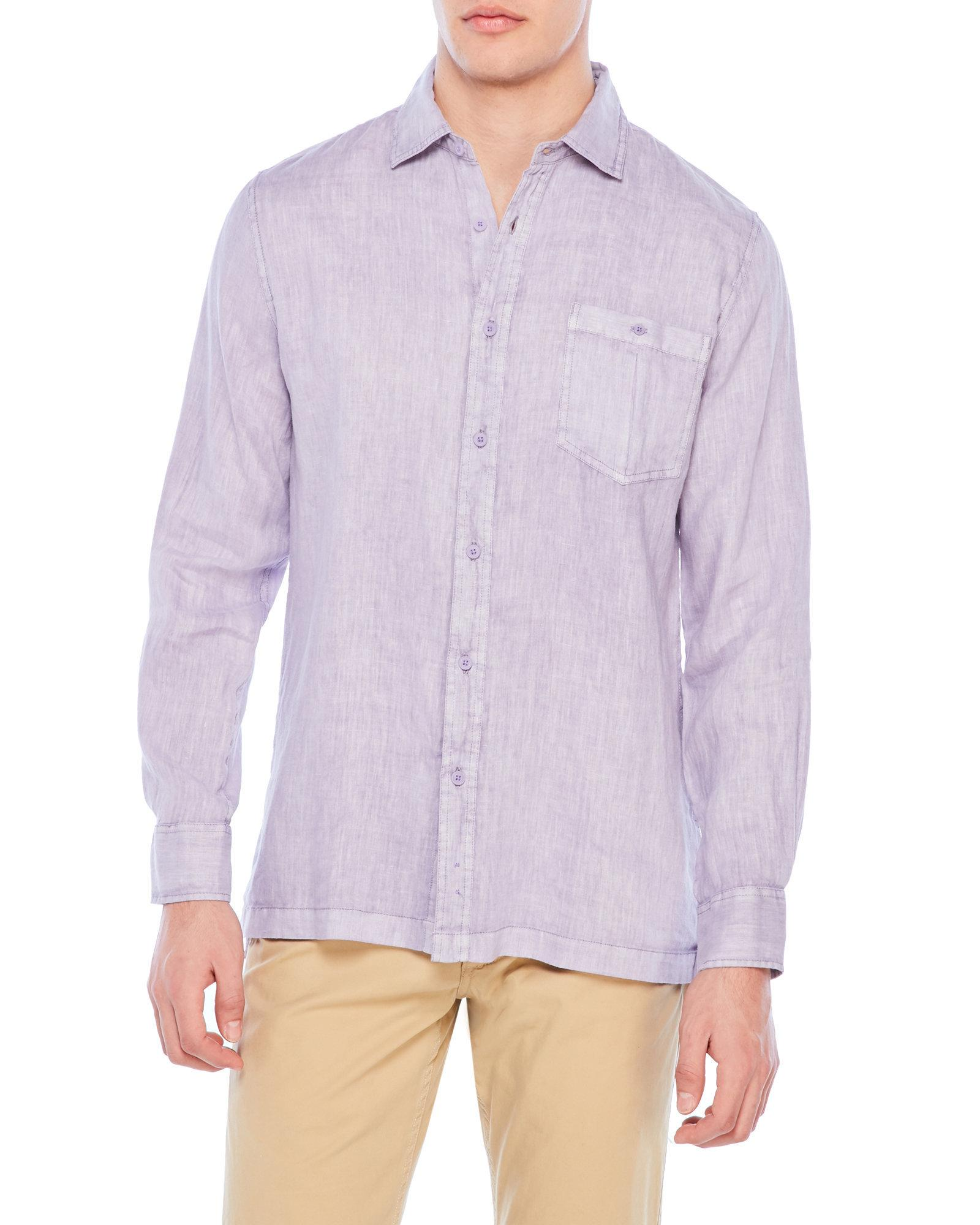 Raffi linen shirt in purple for men lyst for Century 21 dress shirts