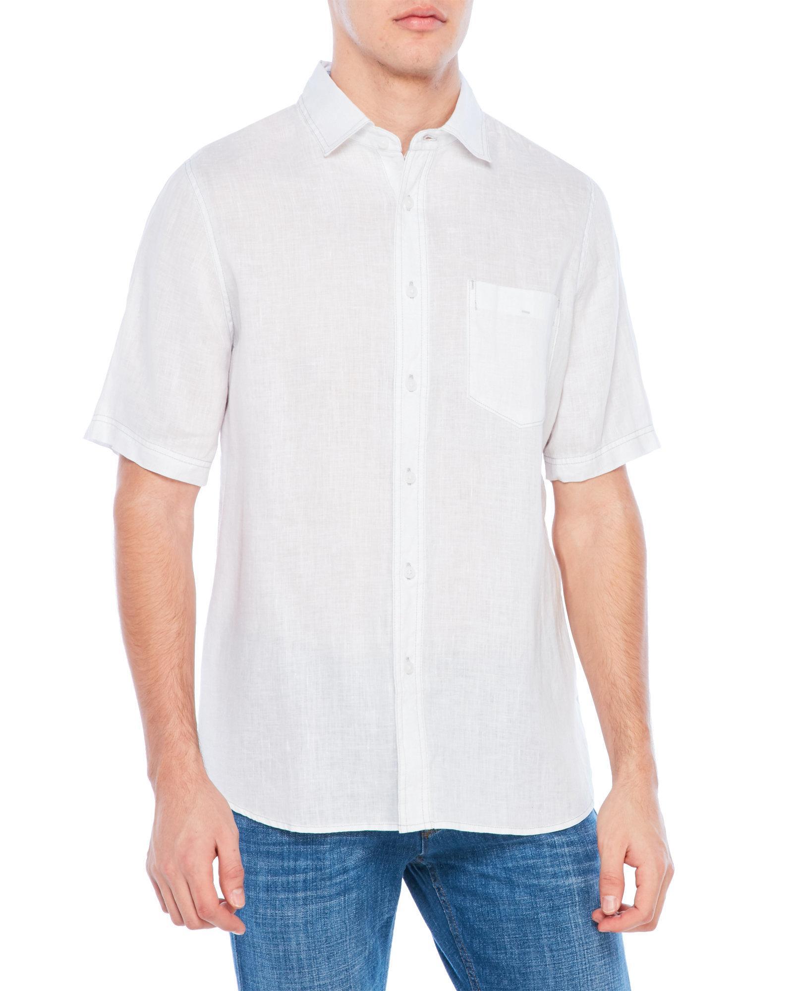 Lyst Raffi Patch Pocket Linen Shirt In White For Men