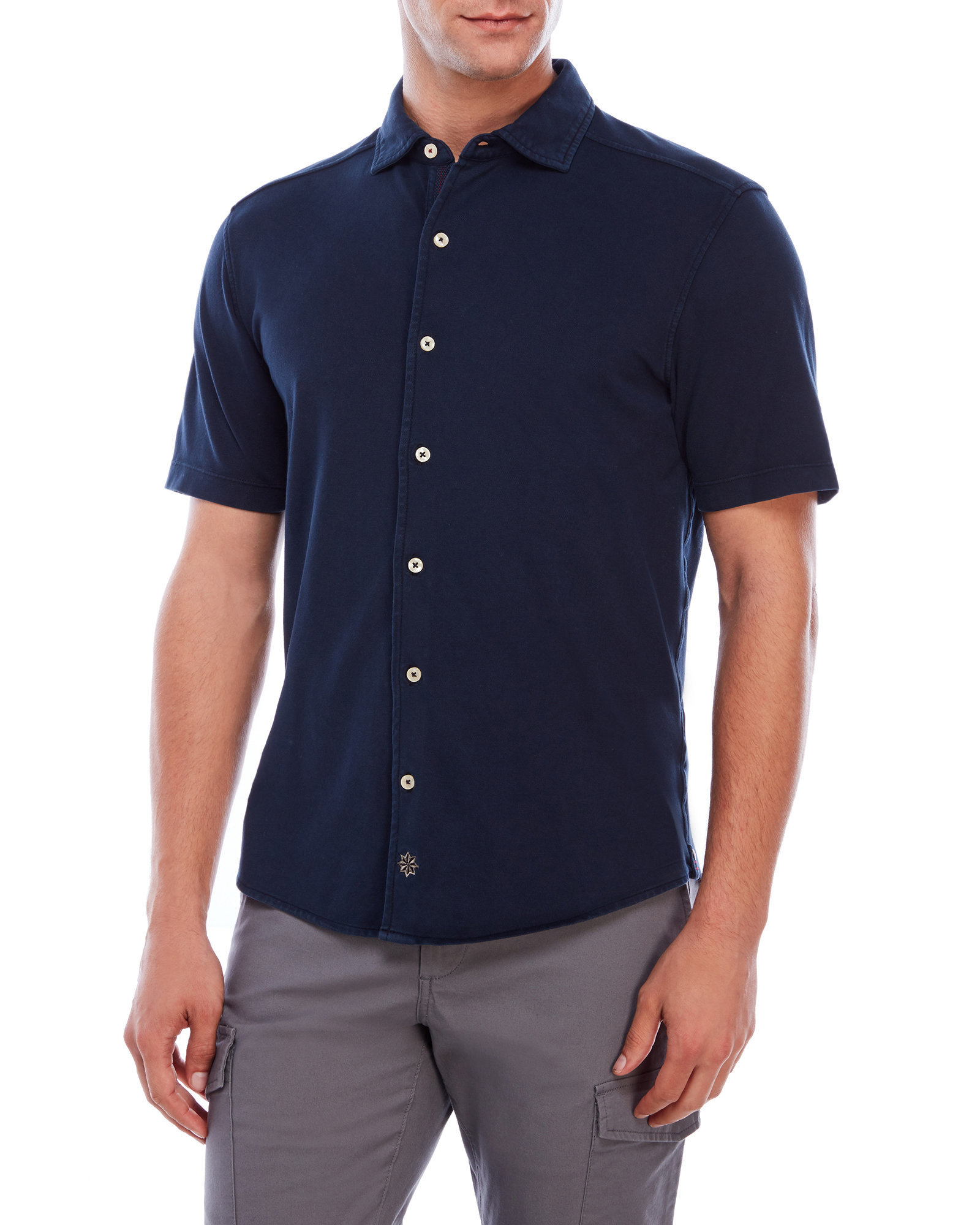 Thaddeus button front pique polo shirt in blue for men lyst for Century 21 dress shirts