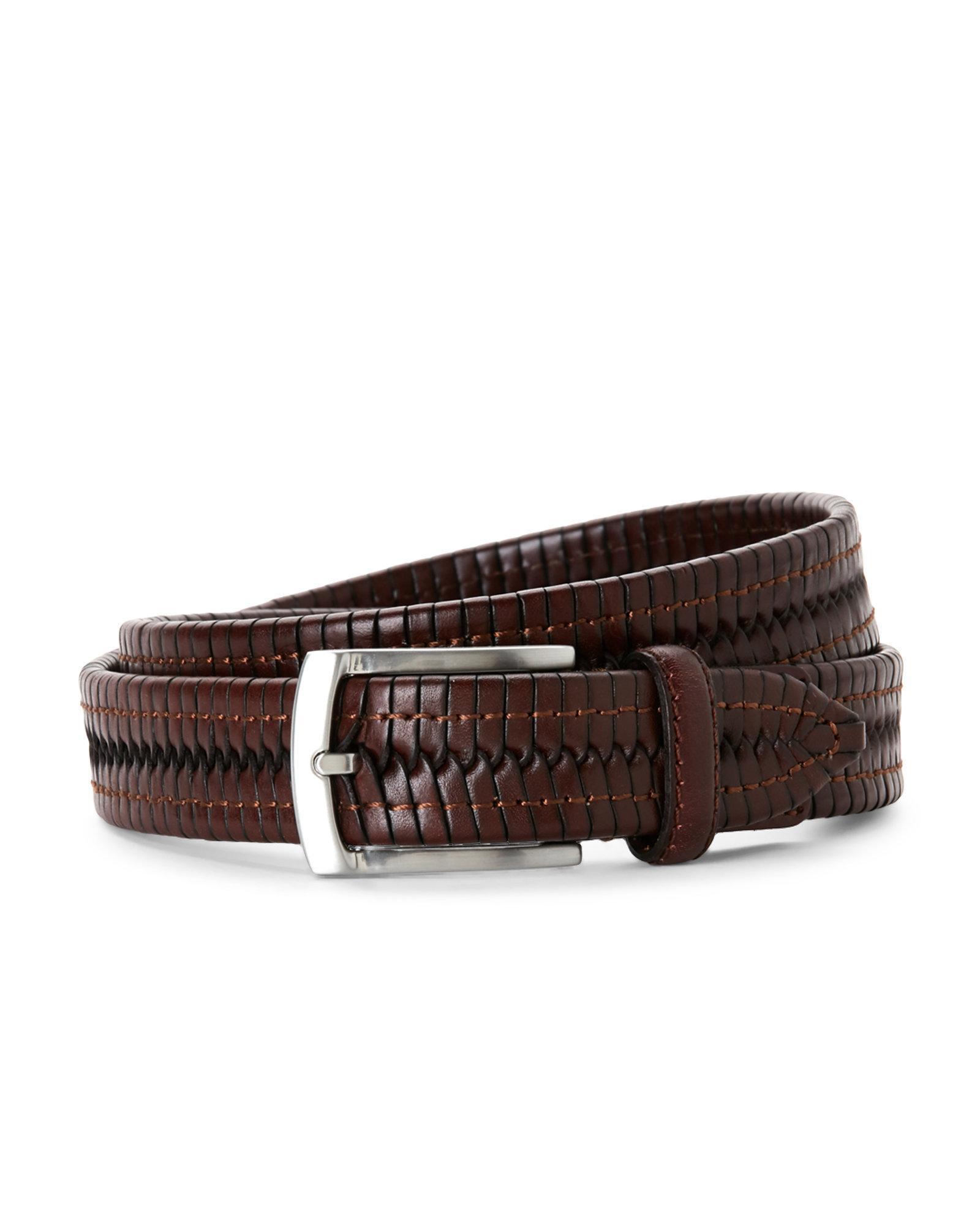 fossil tubular braid leather belt in brown for lyst