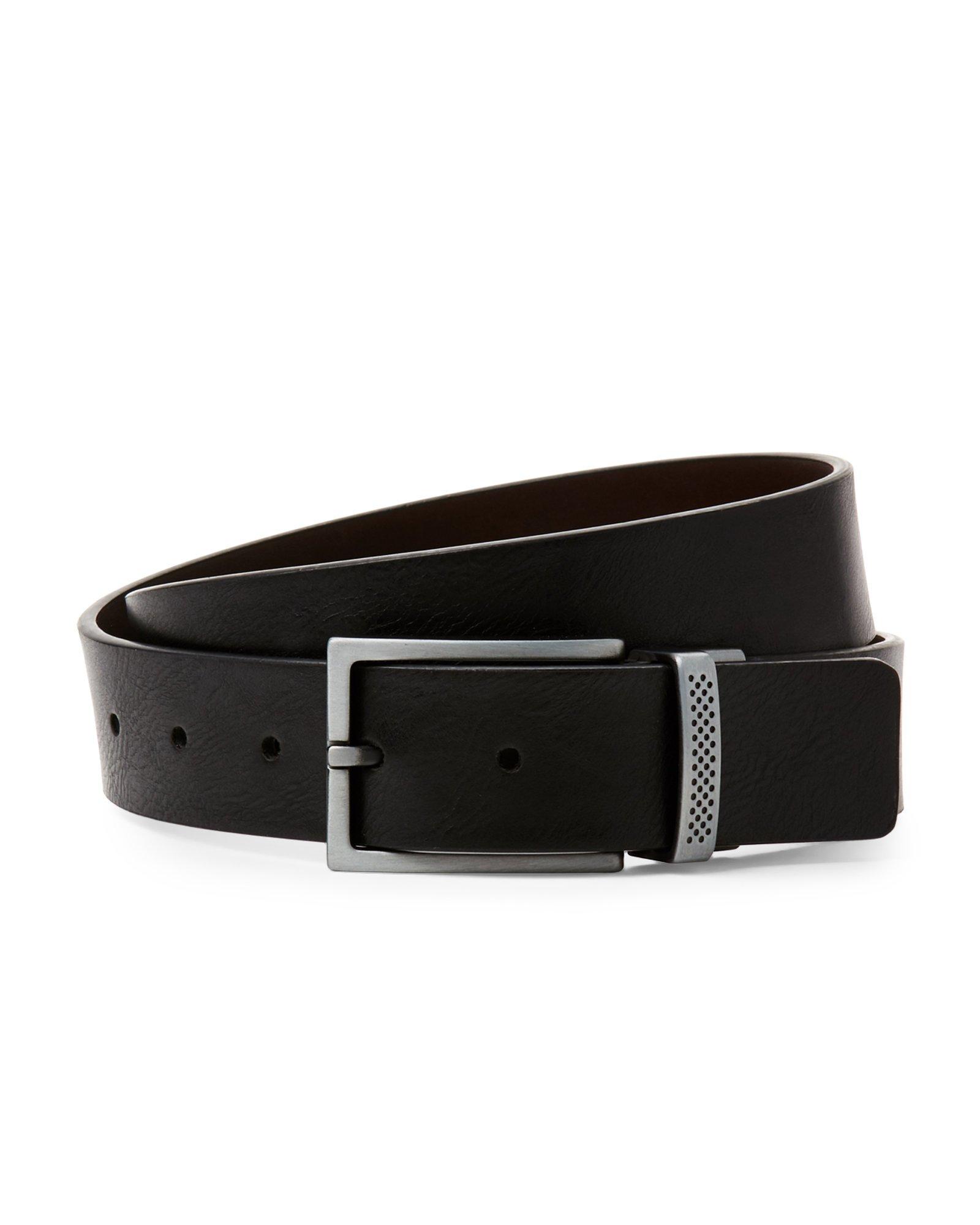 kenneth cole reaction logo keeper reversible belt in black