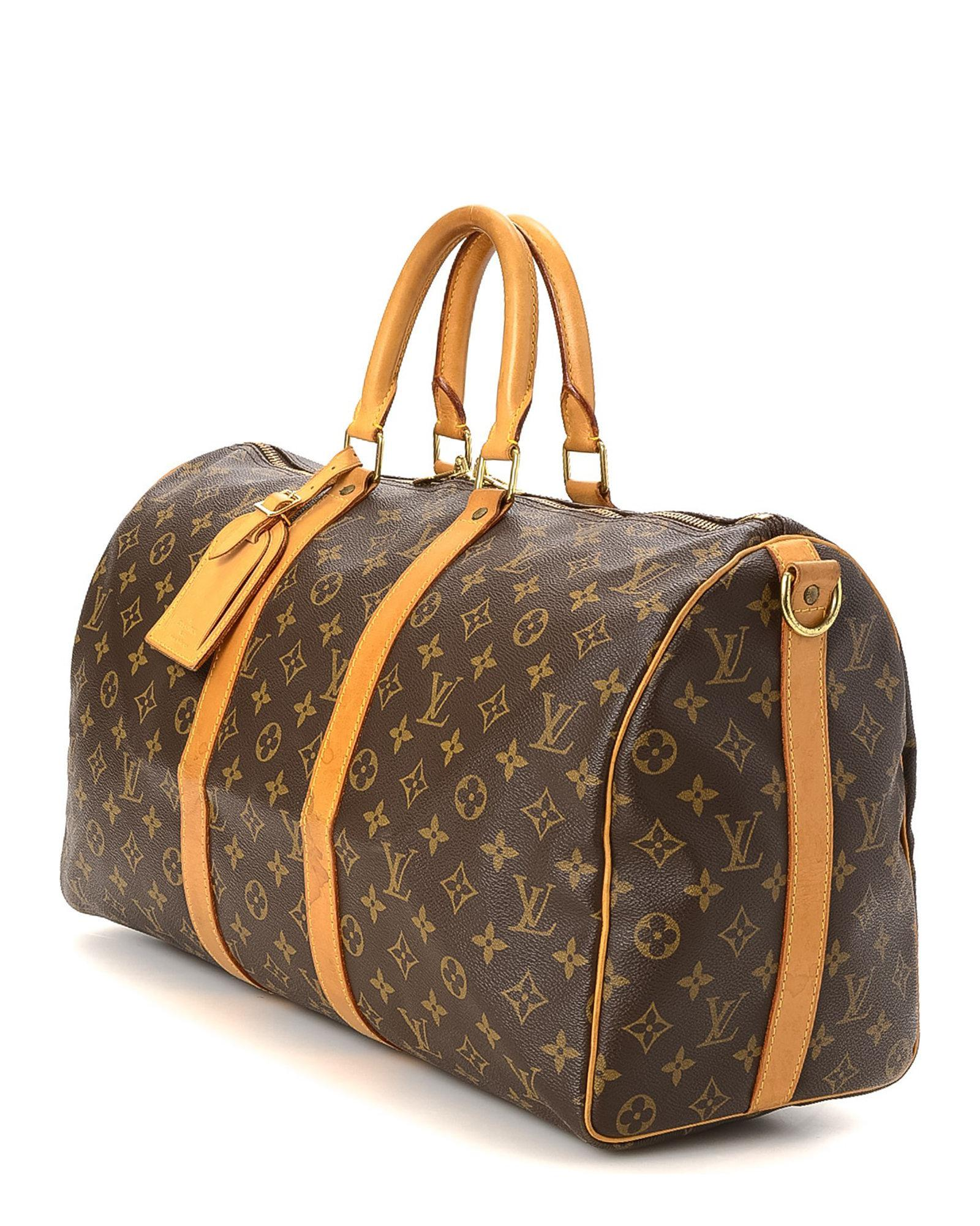 ed4b726422ee Lyst - Louis Vuitton Keepall 45 Bandouliere Travel Bag - Vintage in Brown