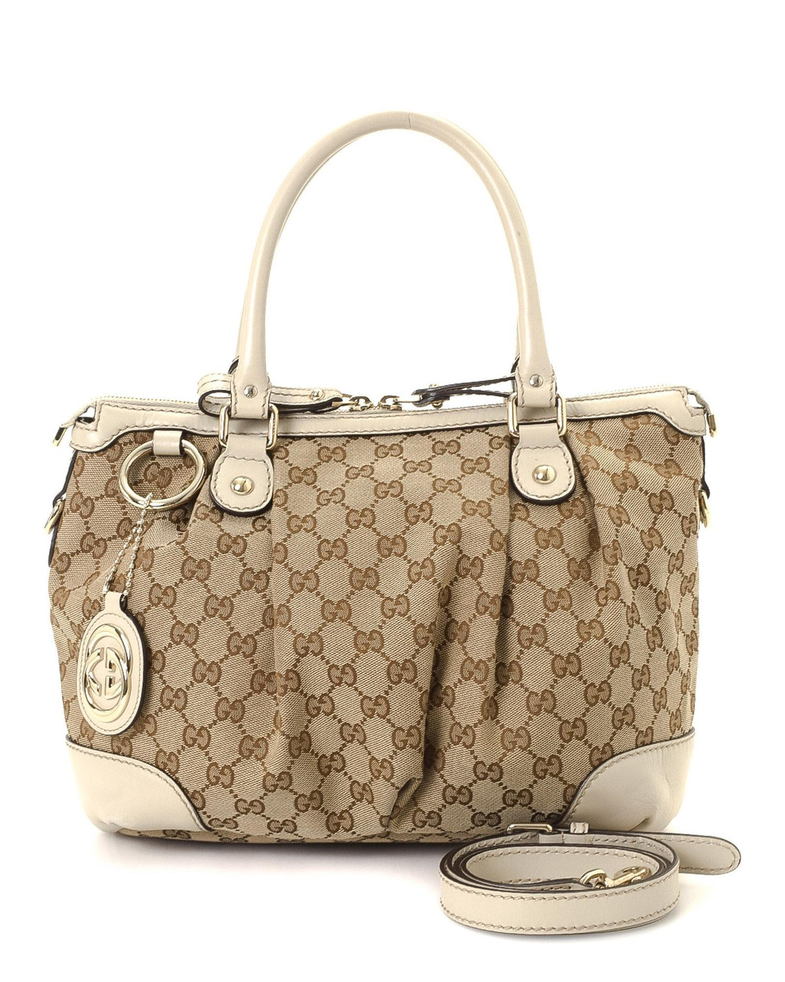 6f07efa8ceae Gucci Gg Canvas Sukey Two-way Handbag - Vintage in Natural - Lyst