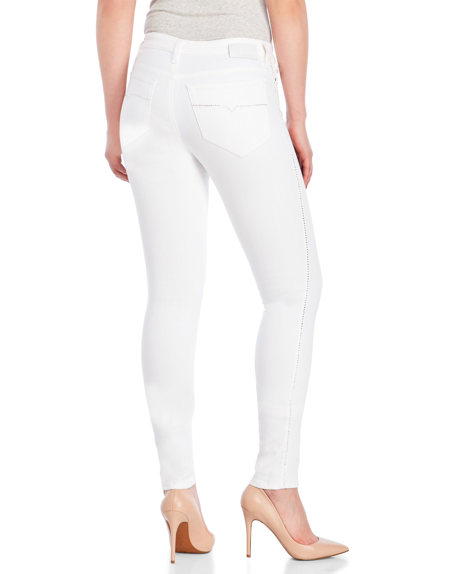 diesel white skinzee slim skinny stretch jeans in white lyst. Black Bedroom Furniture Sets. Home Design Ideas