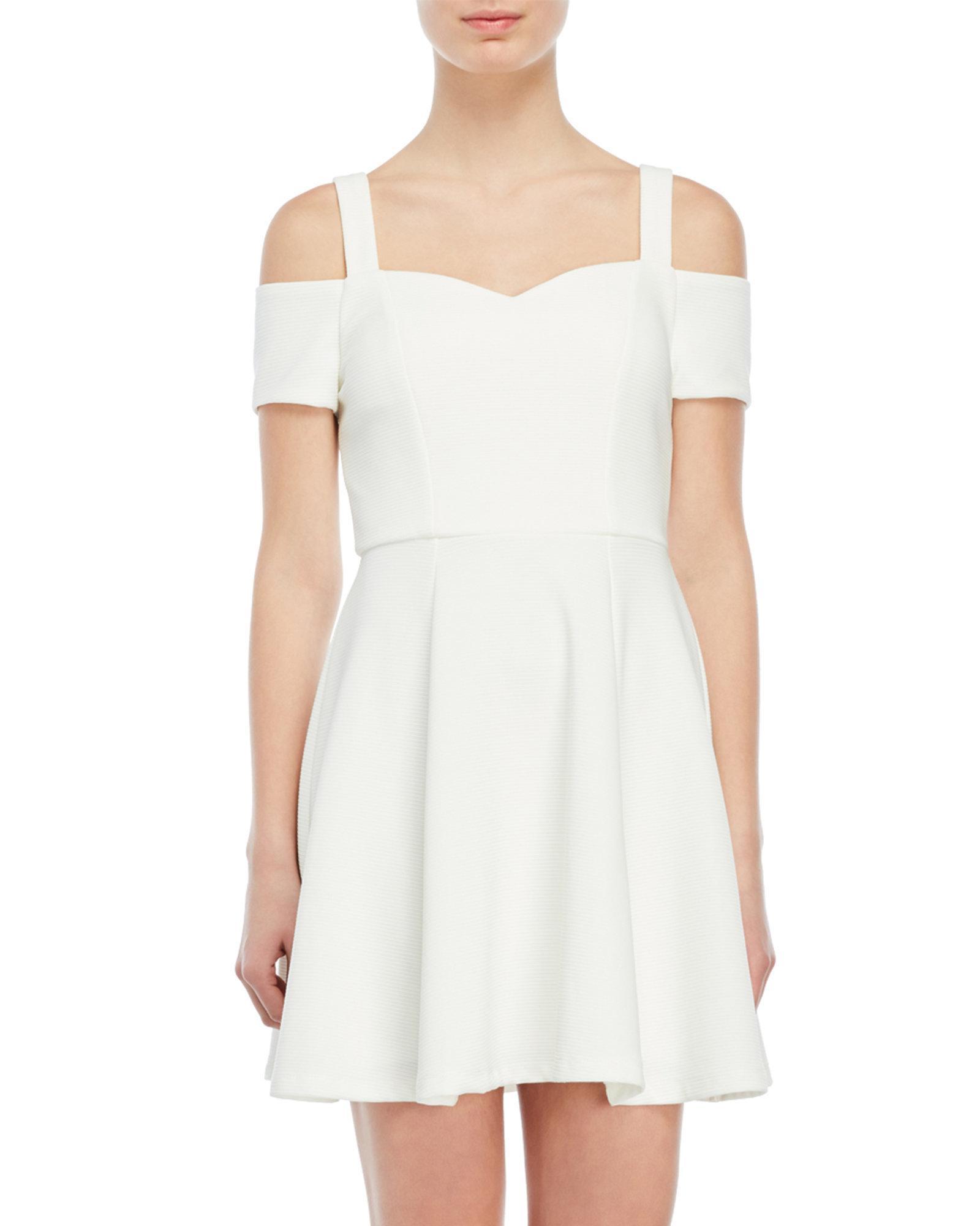 1cc6af33c Emerald Sundae Cold Shoulder Fit & Flare Dress in White - Lyst
