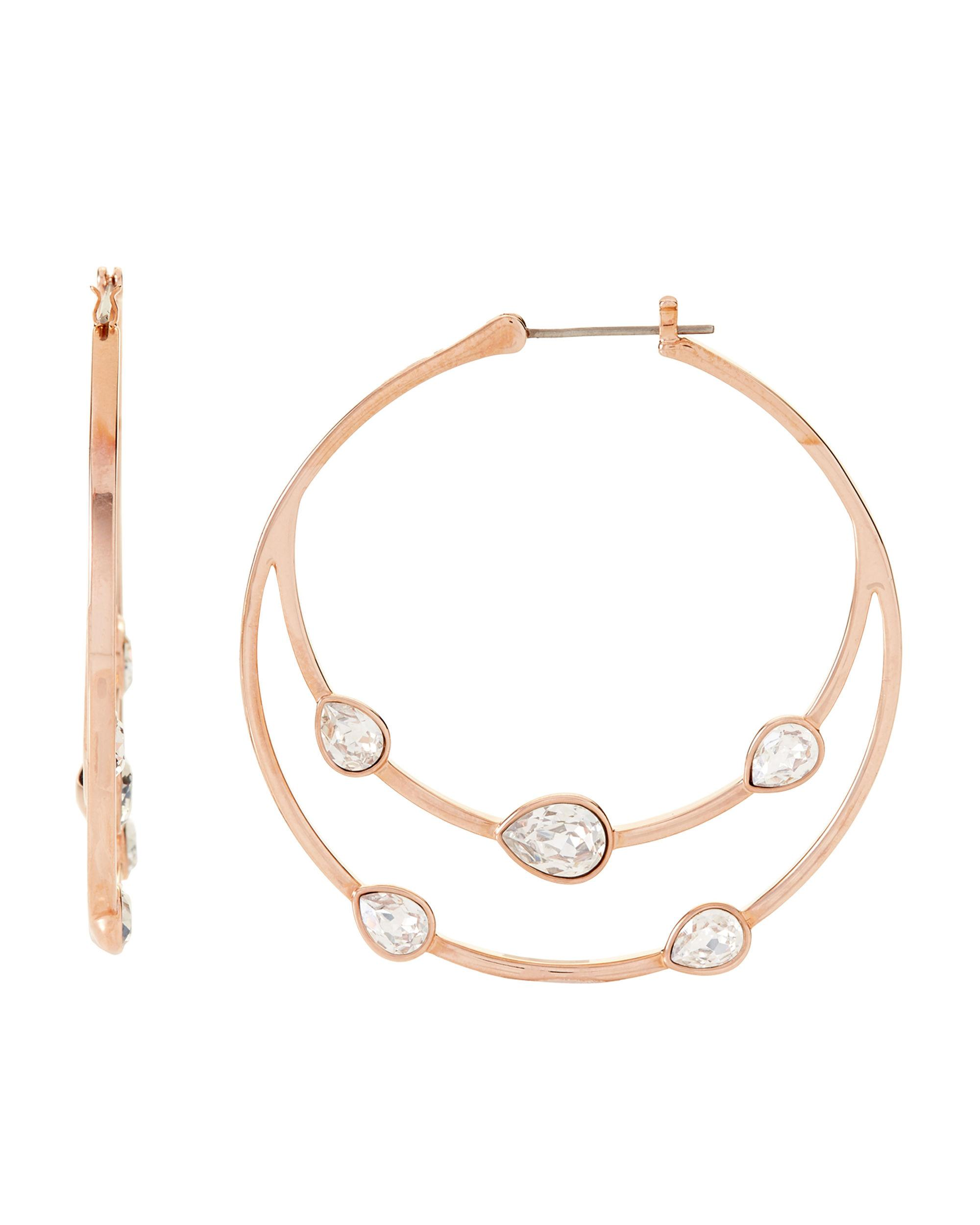 93b29551b Swarovski. Women's Metallic Rose Gold-tone Gaze Embellished Hoop Earrings