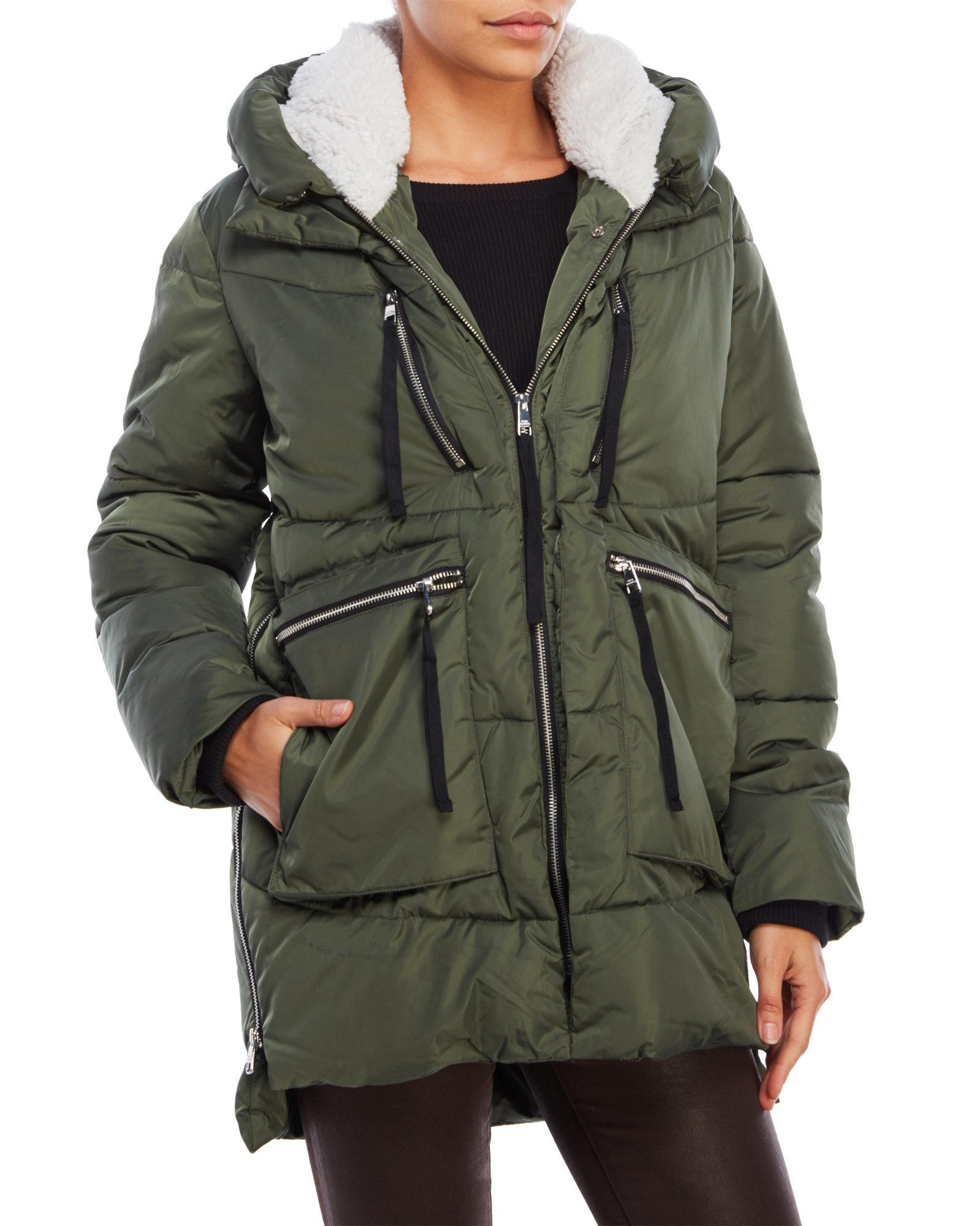 Steve Madden Faux Fur Trim Hooded Puffer Jacket In Green