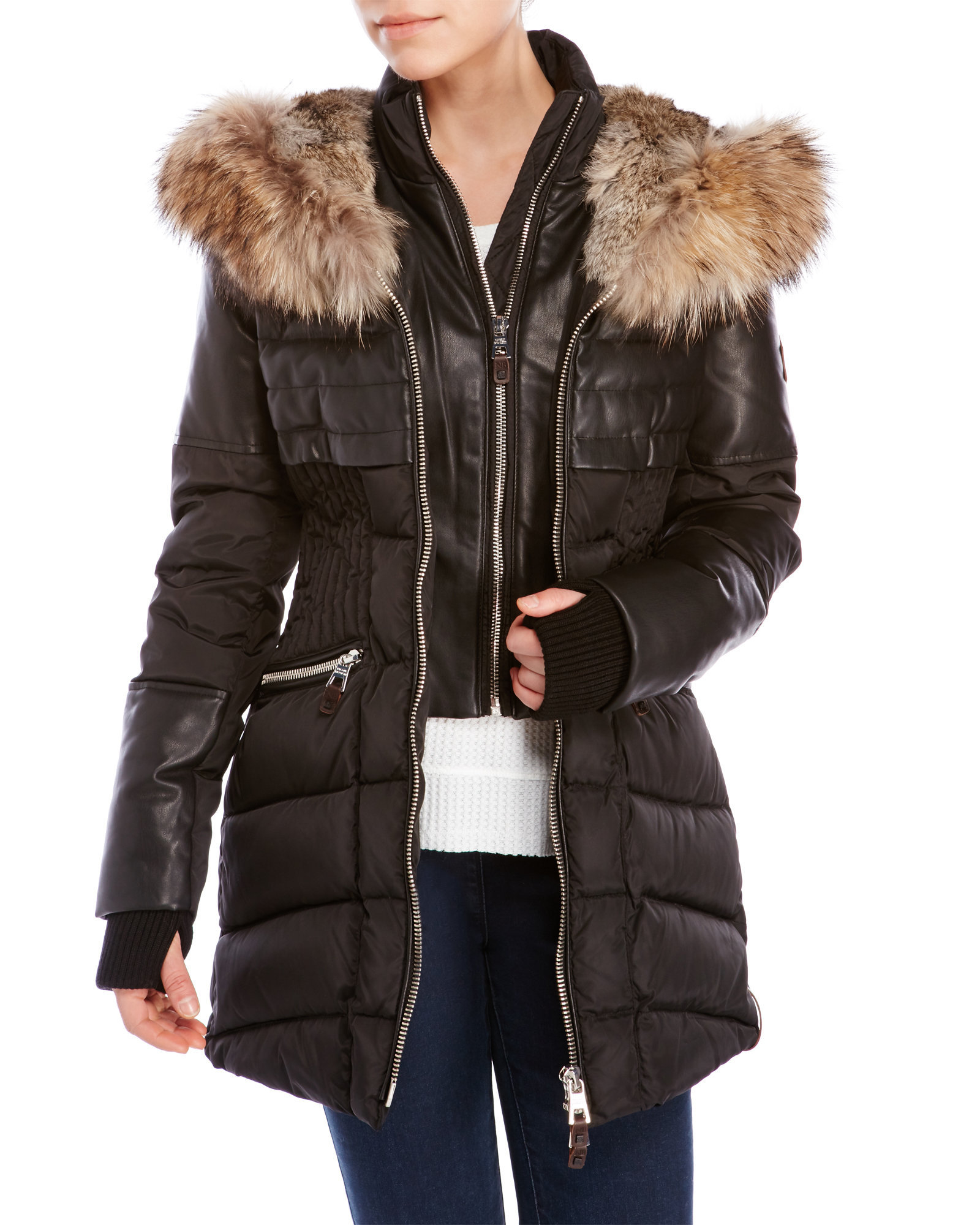Nicole benisti Hooded Slim Down Parka With Real Fur Trim in Brown ...