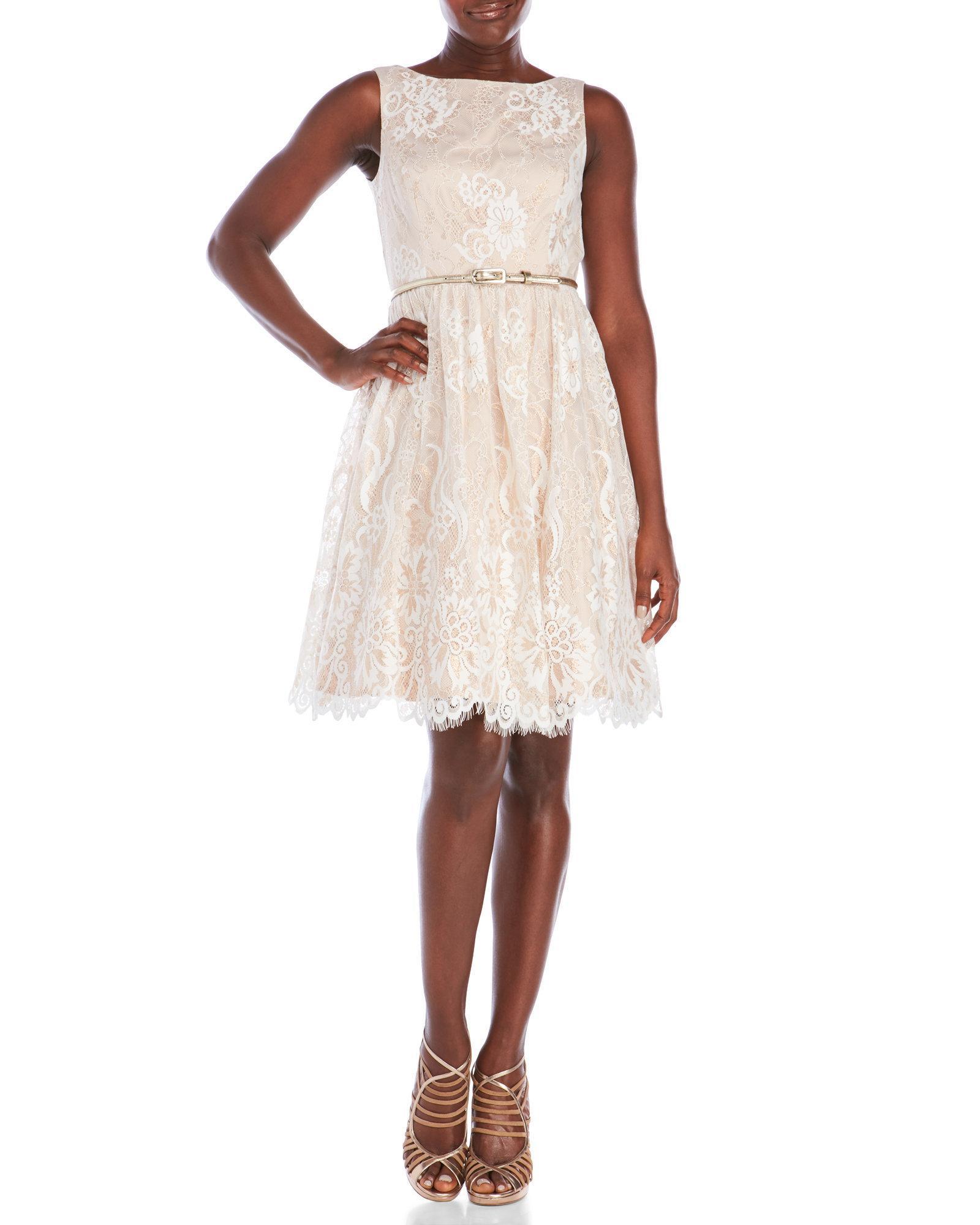 eliza j lace fit flare belted dress lyst