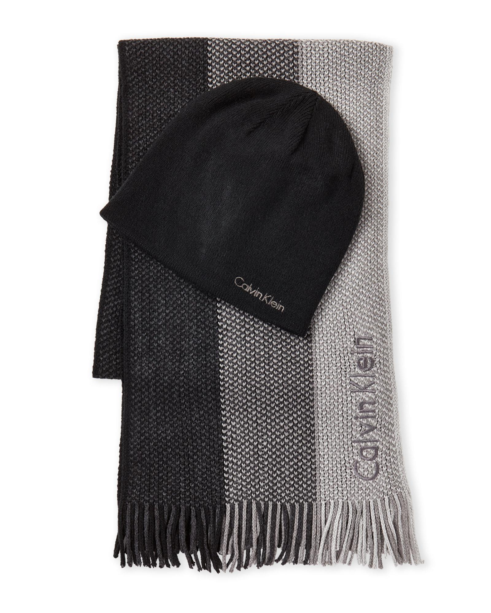 Lyst - Calvin Klein 2-Piece Raschel Striped Scarf   Hat Set in Black ... 33fd7046972