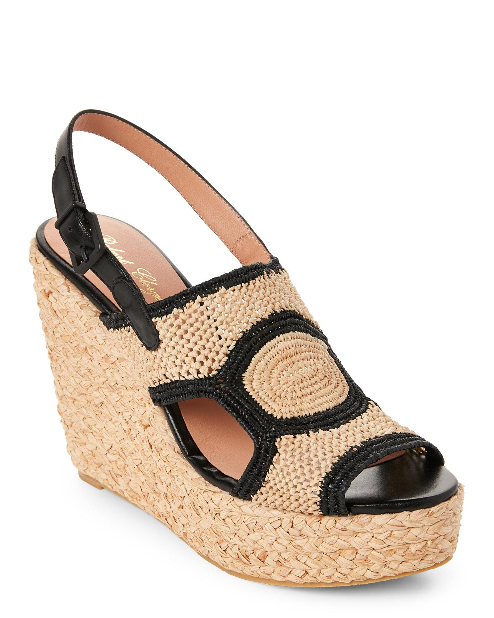 56dbbb34d2 Robert Clergerie Natural & Black Drastic Raffia Wedge Sandals in ...