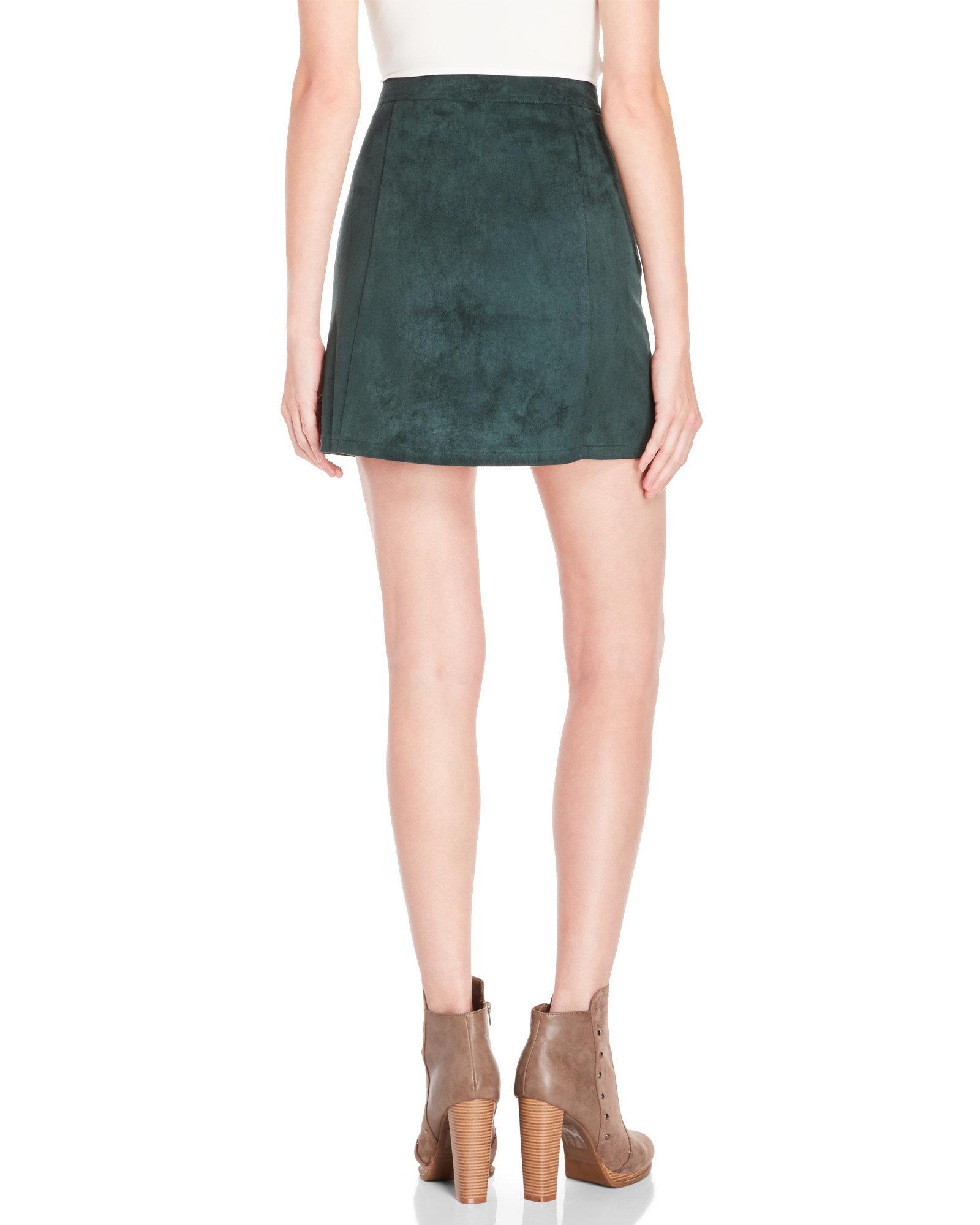 4627d911c5159d Bishop + Young Dark Green Faux Suede A-Line Skirt in Green - Lyst