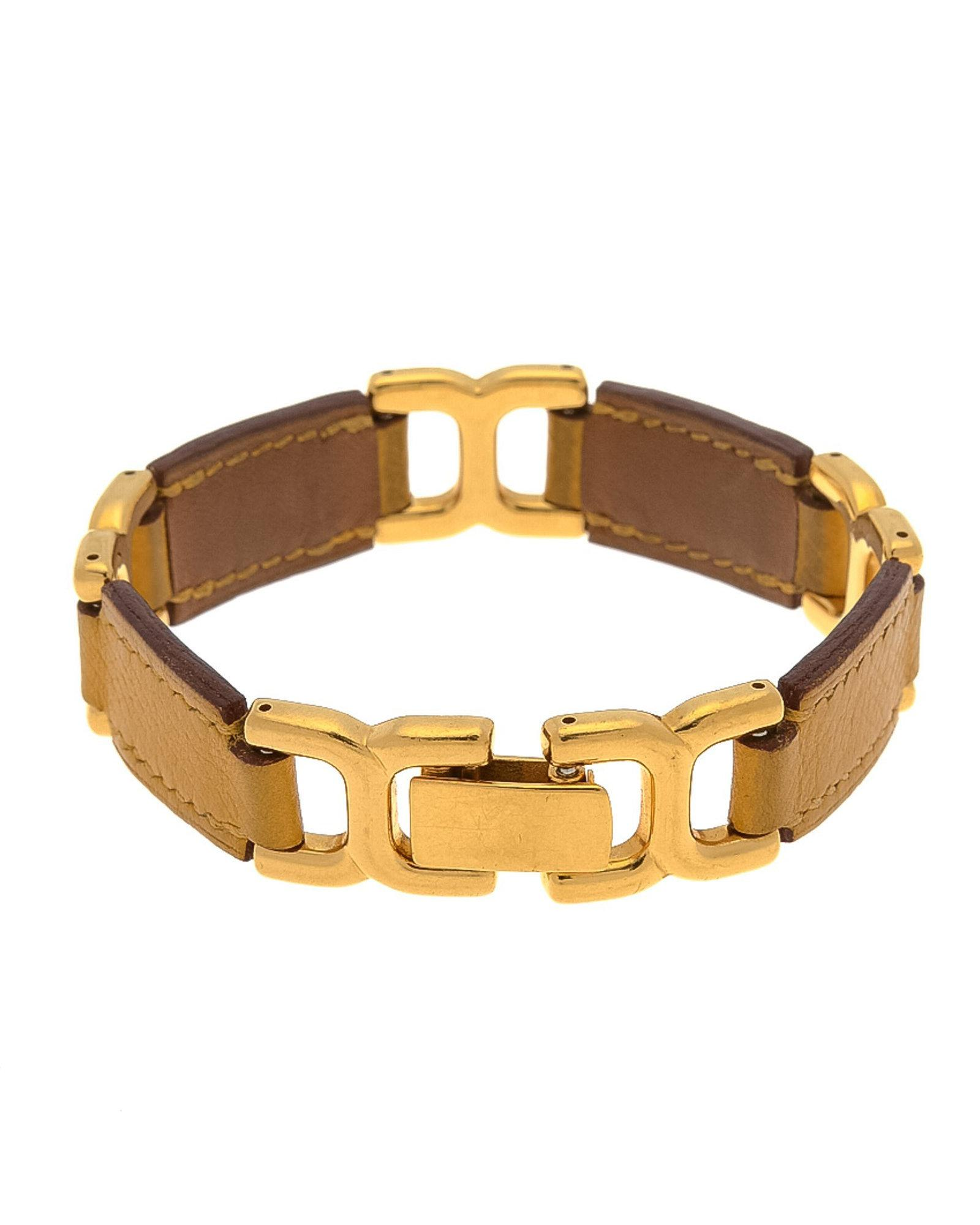 0bc22d588246 Hermès Leather Link Bracelet 18.5cm - Vintage in Yellow - Lyst